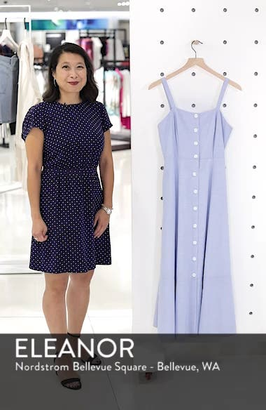 Button Front Chambray Cotton Dress, sales video thumbnail