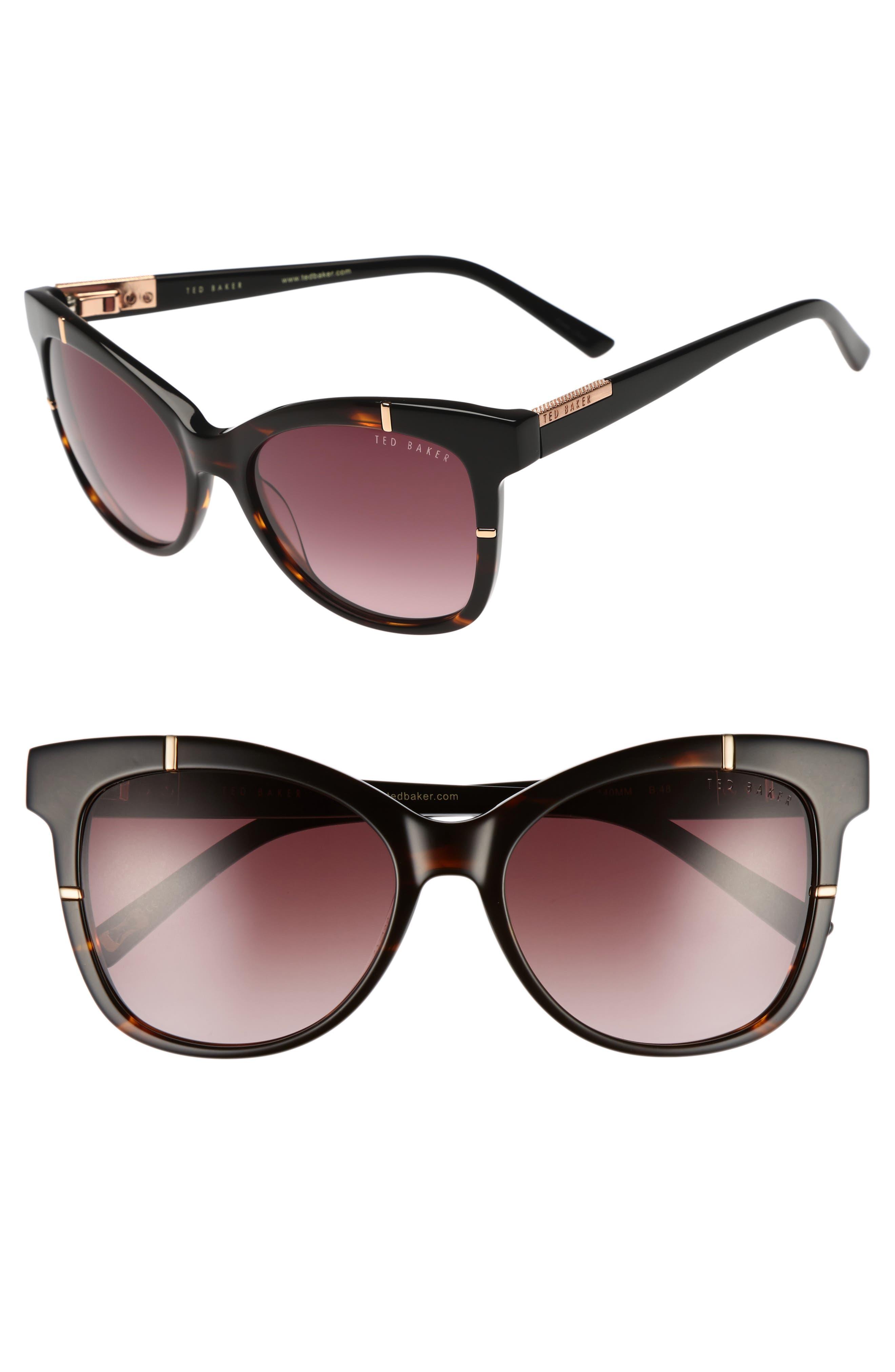55mm Square Cat Eye Sunglasses,                             Main thumbnail 1, color,                             TORTOISE