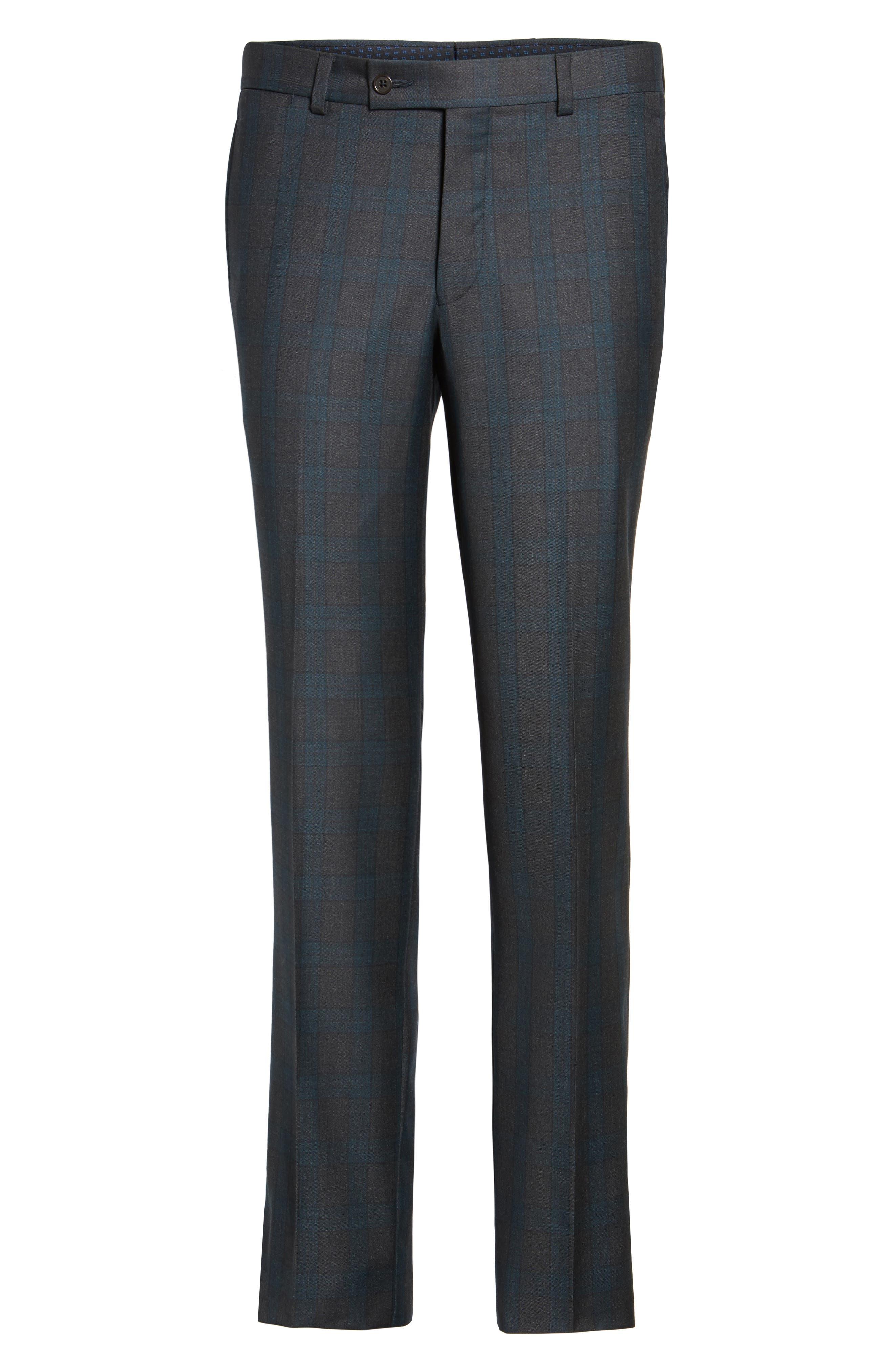 Jefferson Flat Front Plaid Wool Trousers,                             Alternate thumbnail 6, color,                             020