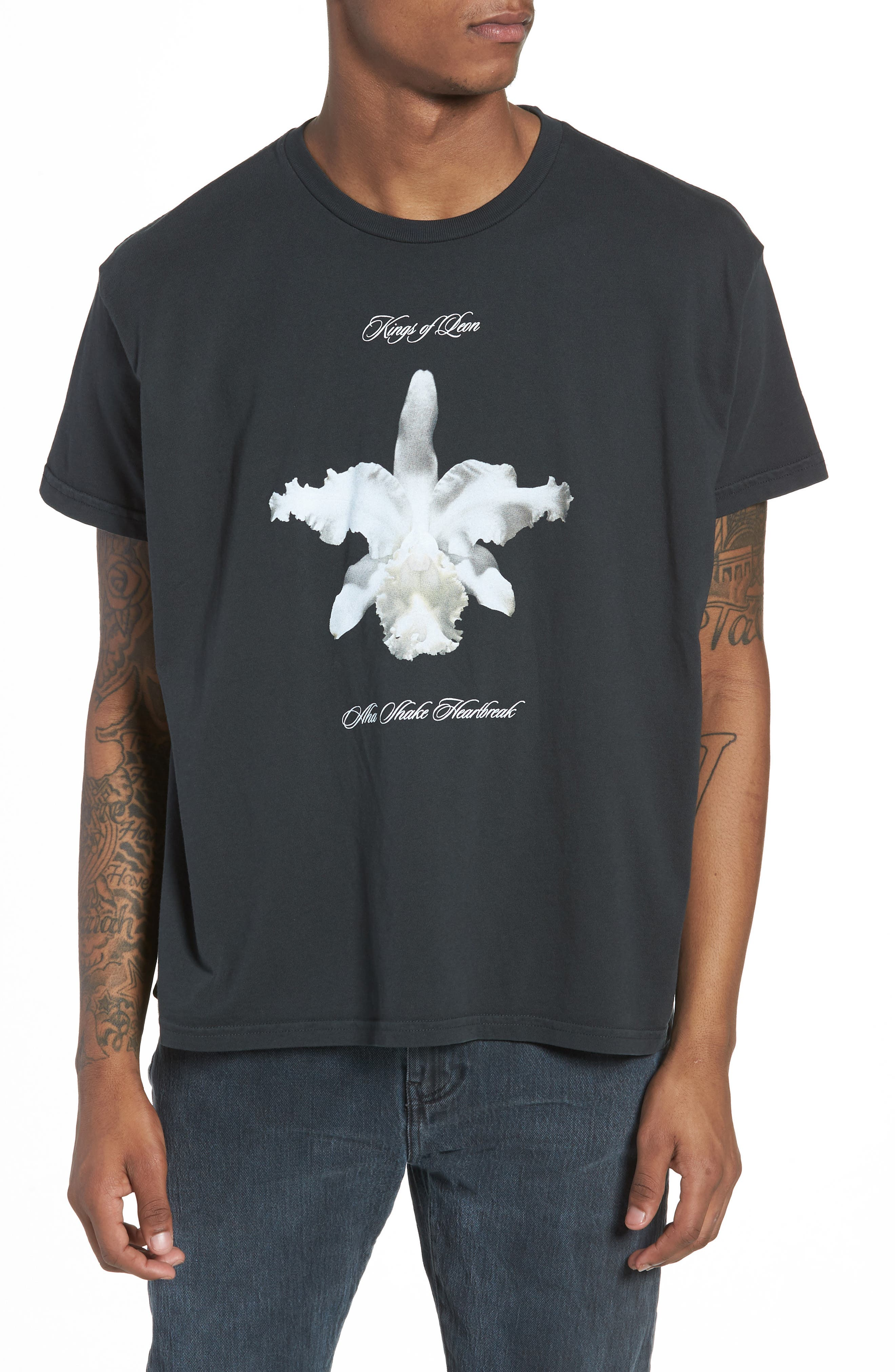 Kings of Leon Aha Shake Heartbreak T-Shirt,                             Main thumbnail 1, color,                             DUSTY BLACK