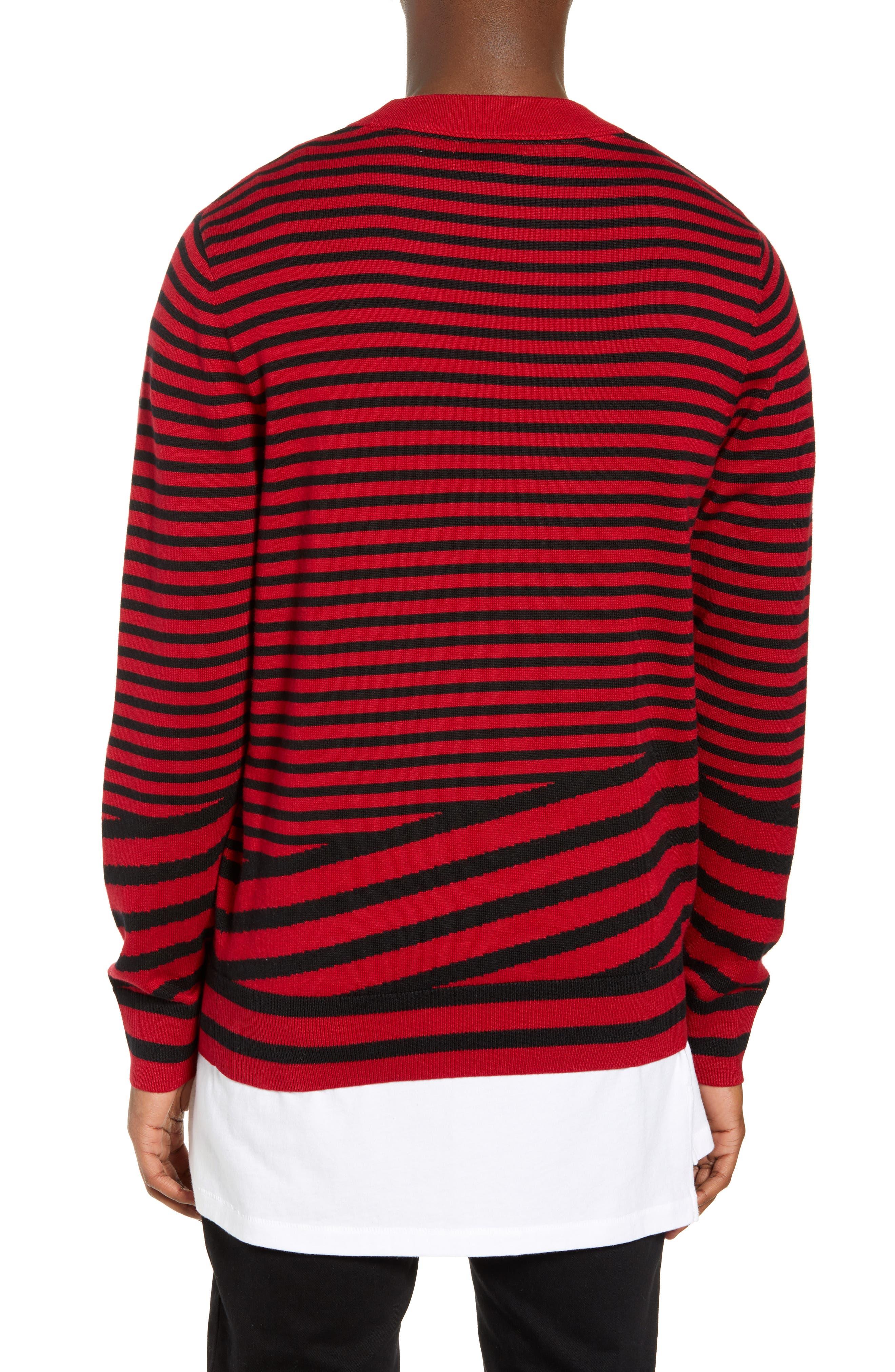 Asymmetrical Stripe Longline Sweater,                             Alternate thumbnail 2, color,                             RED BLACK RETRO STRIPE