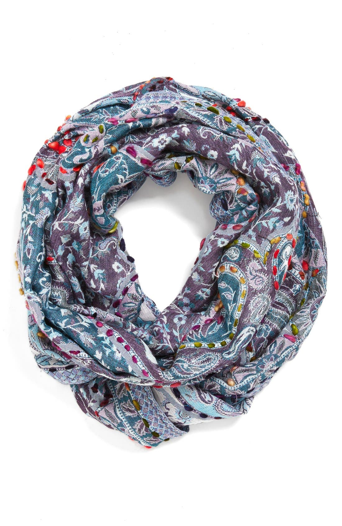 RAJ IMPORTS Embroidered Infinity Scarf, Main, color, 500