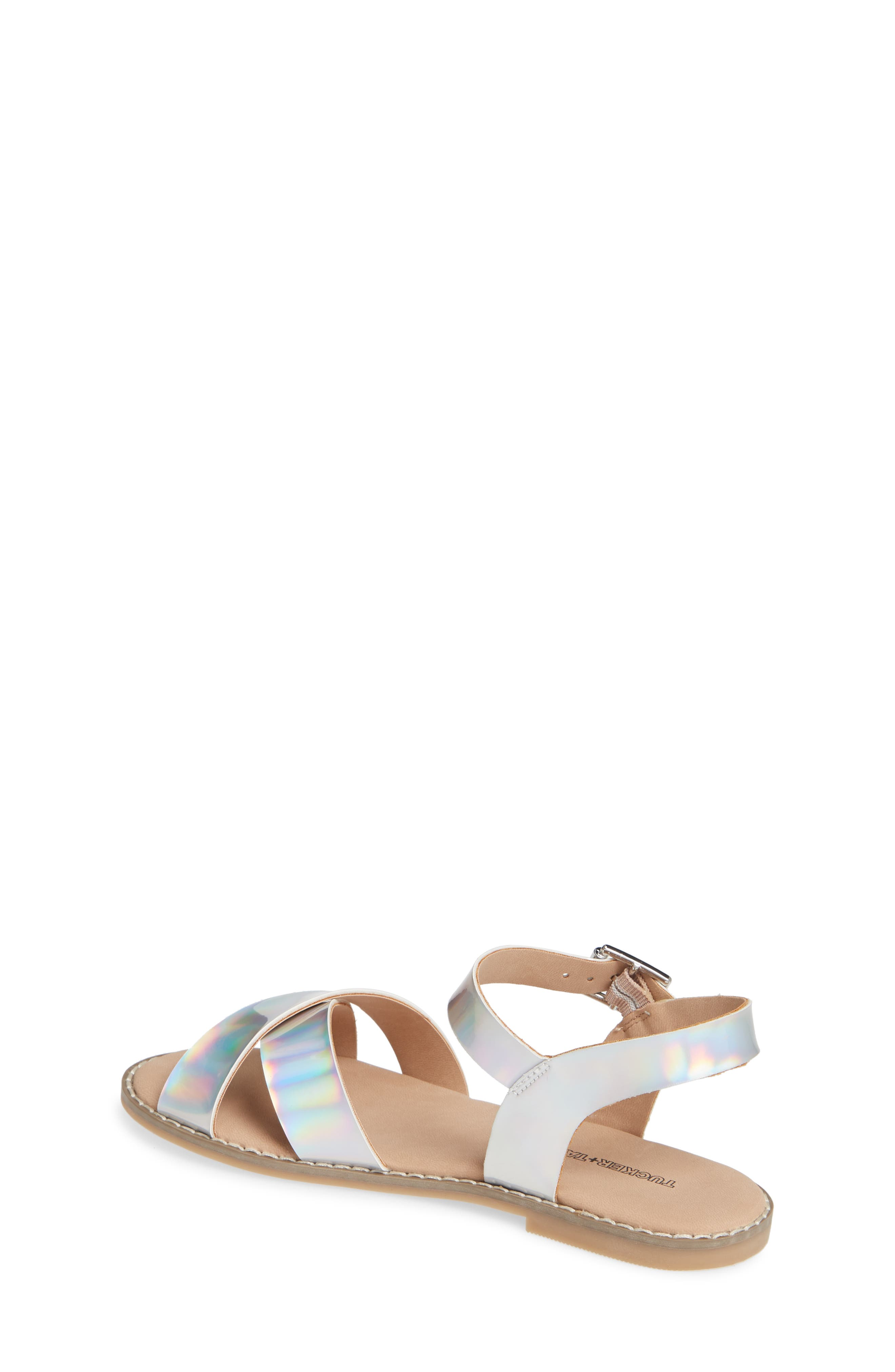 Arya Cross Strap Sandal,                             Alternate thumbnail 2, color,                             SILVER HOLOGRAM FAUX LEATHER