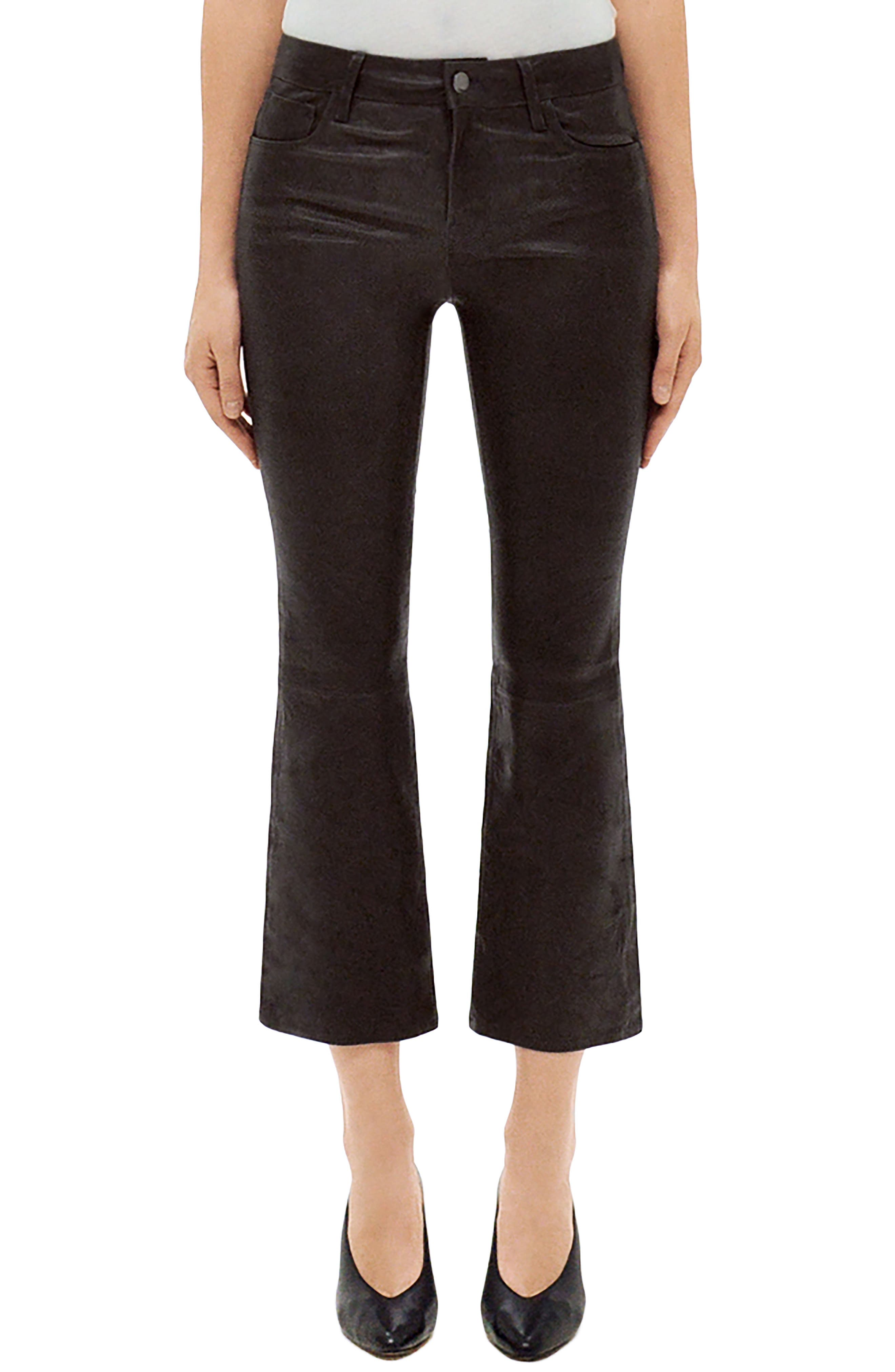Selena Mid Rise Crop Bootcut Leather Jeans,                             Main thumbnail 1, color,