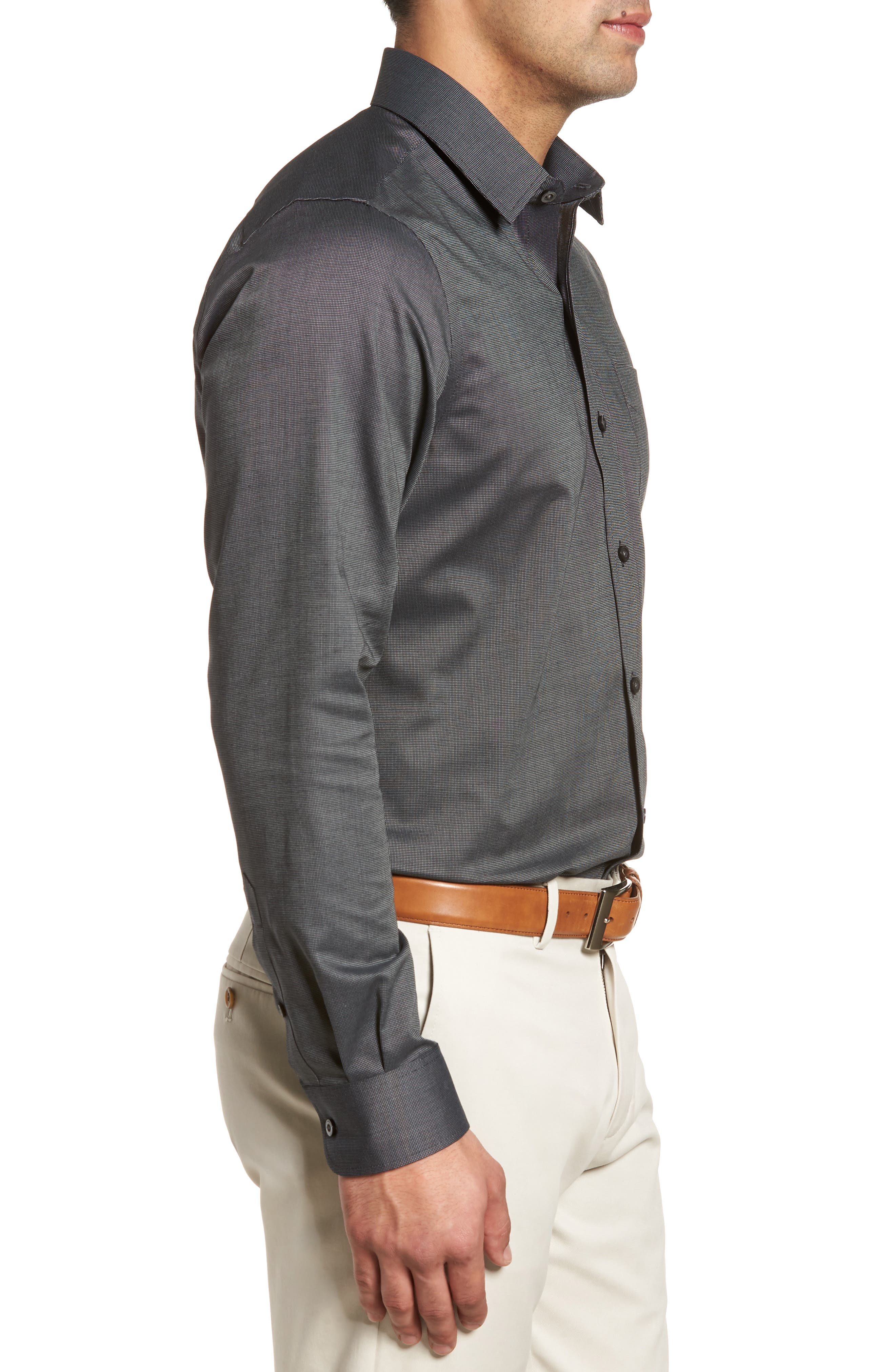 Tailored Fit Sport Shirt,                             Alternate thumbnail 3, color,                             BLACK