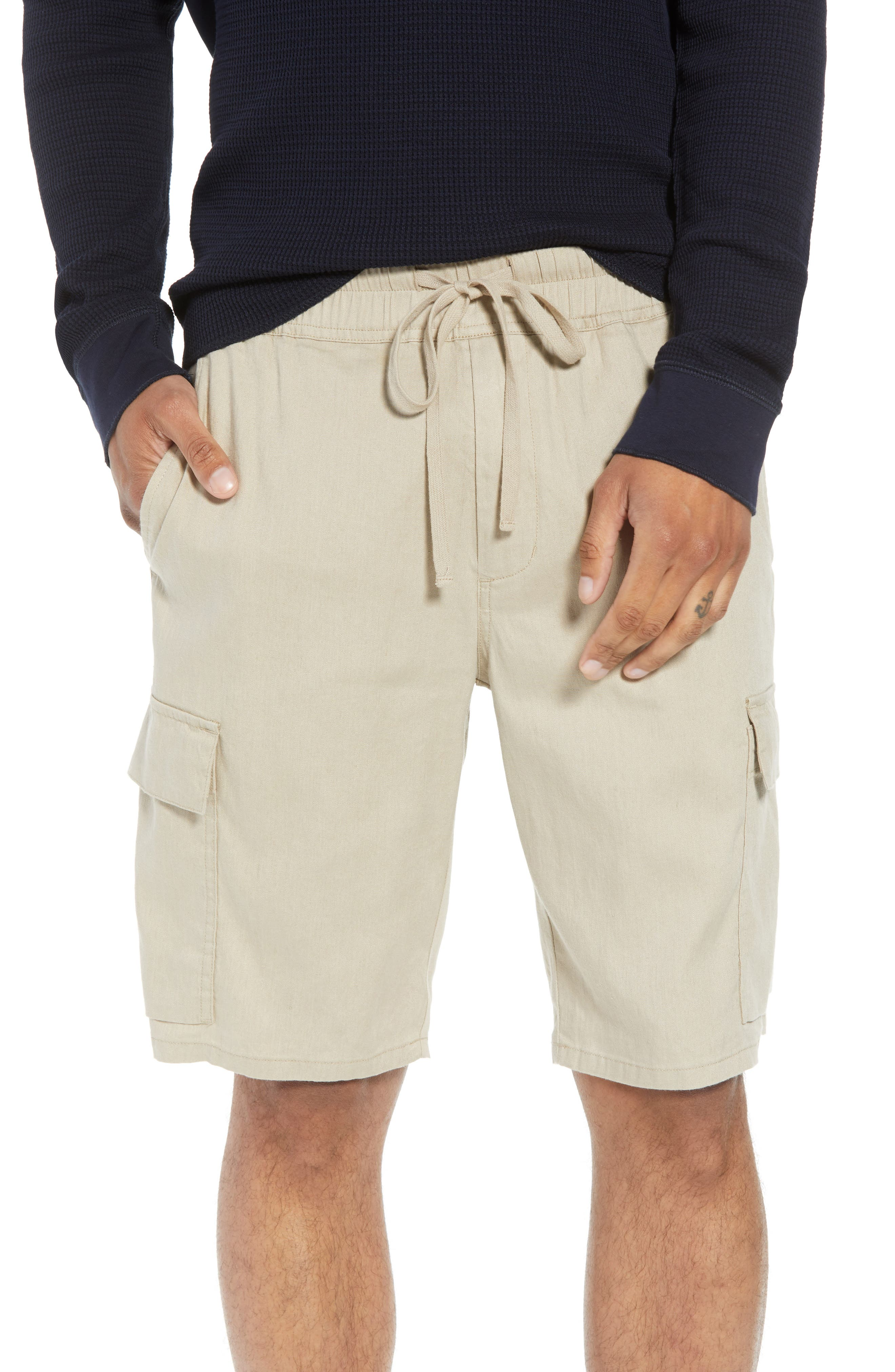 Stretch Linen & Cotton Cargo Shorts,                             Main thumbnail 1, color,                             FLAX