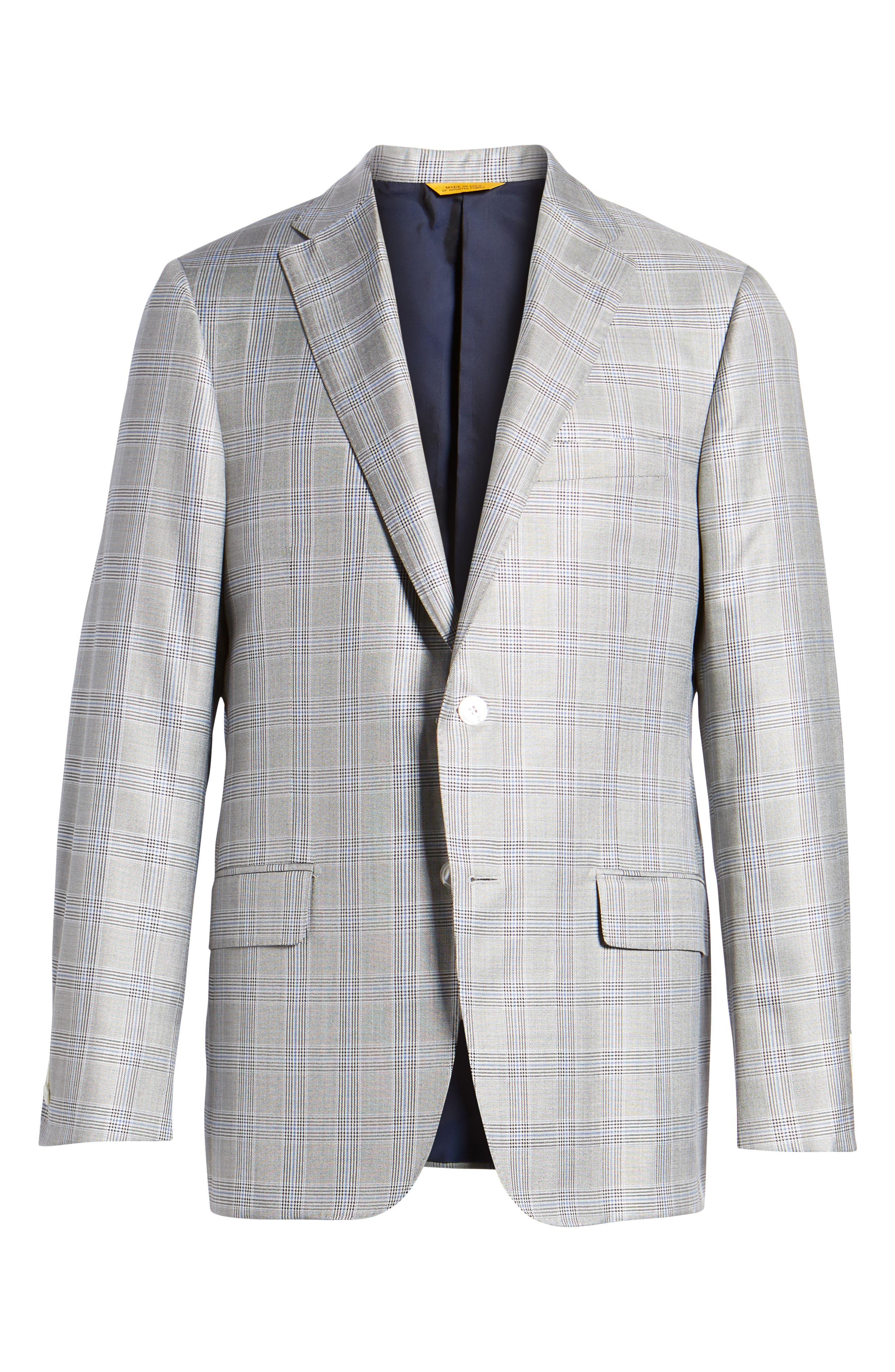 Classic B Fit Plaid Silk & Wool Sport Coat,                             Alternate thumbnail 5, color,                             001