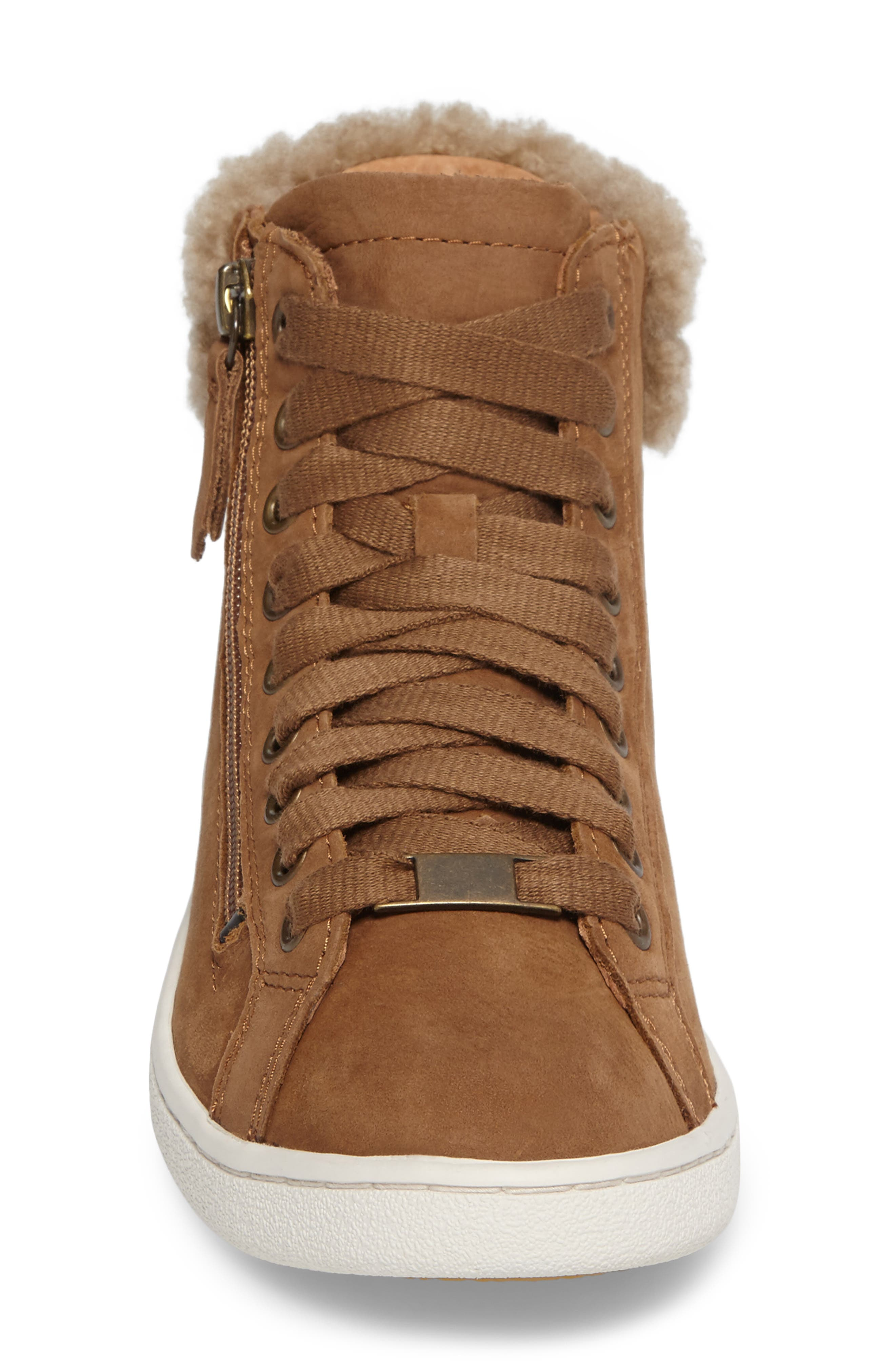 Olive Genuine Shearling Cuff Sneaker,                             Alternate thumbnail 4, color,                             219