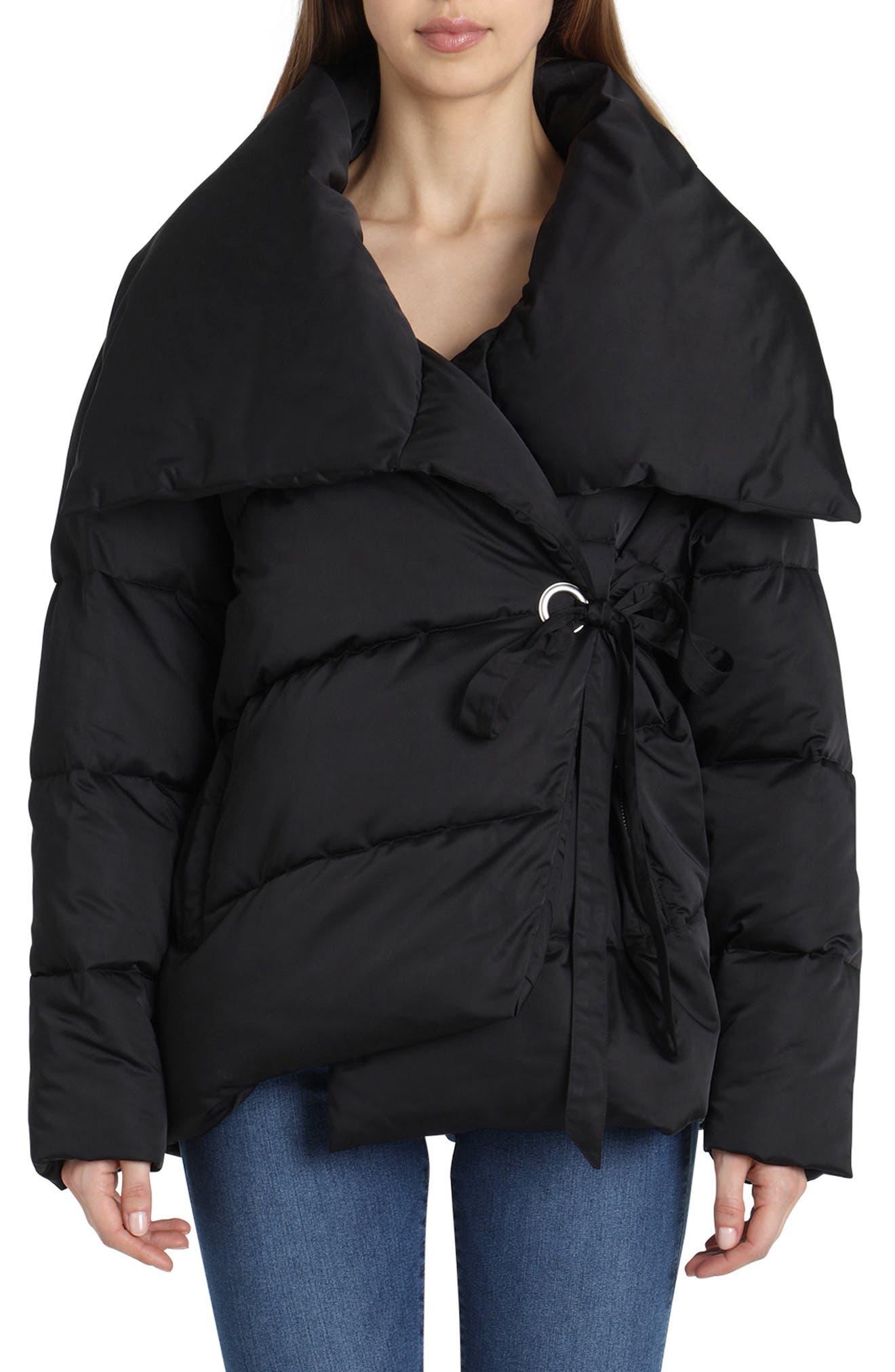 Wrap Puffer Jacket,                             Main thumbnail 1, color,                             BLACK