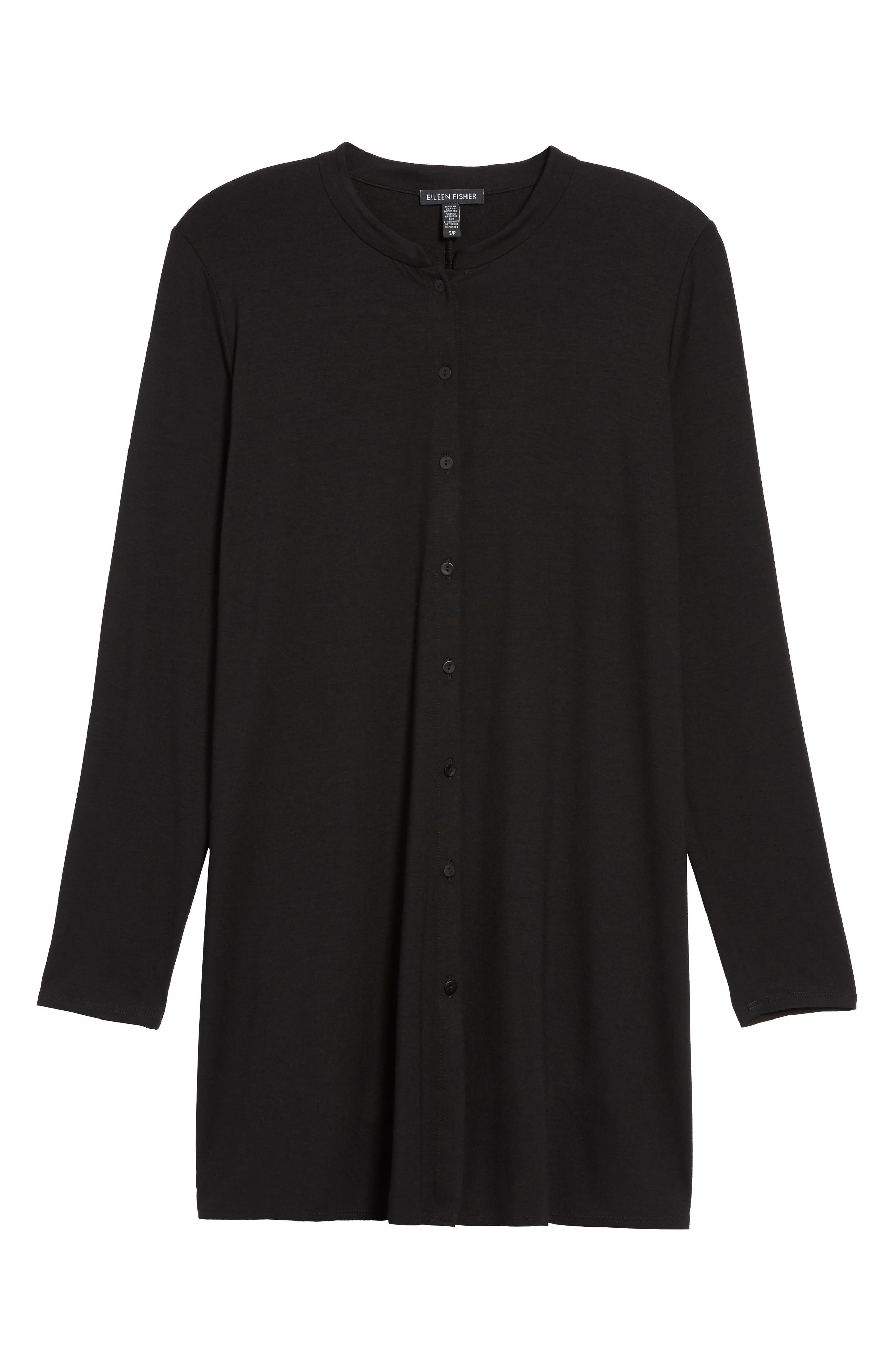 Button Front Jersey Tunic,                             Alternate thumbnail 6, color,                             001