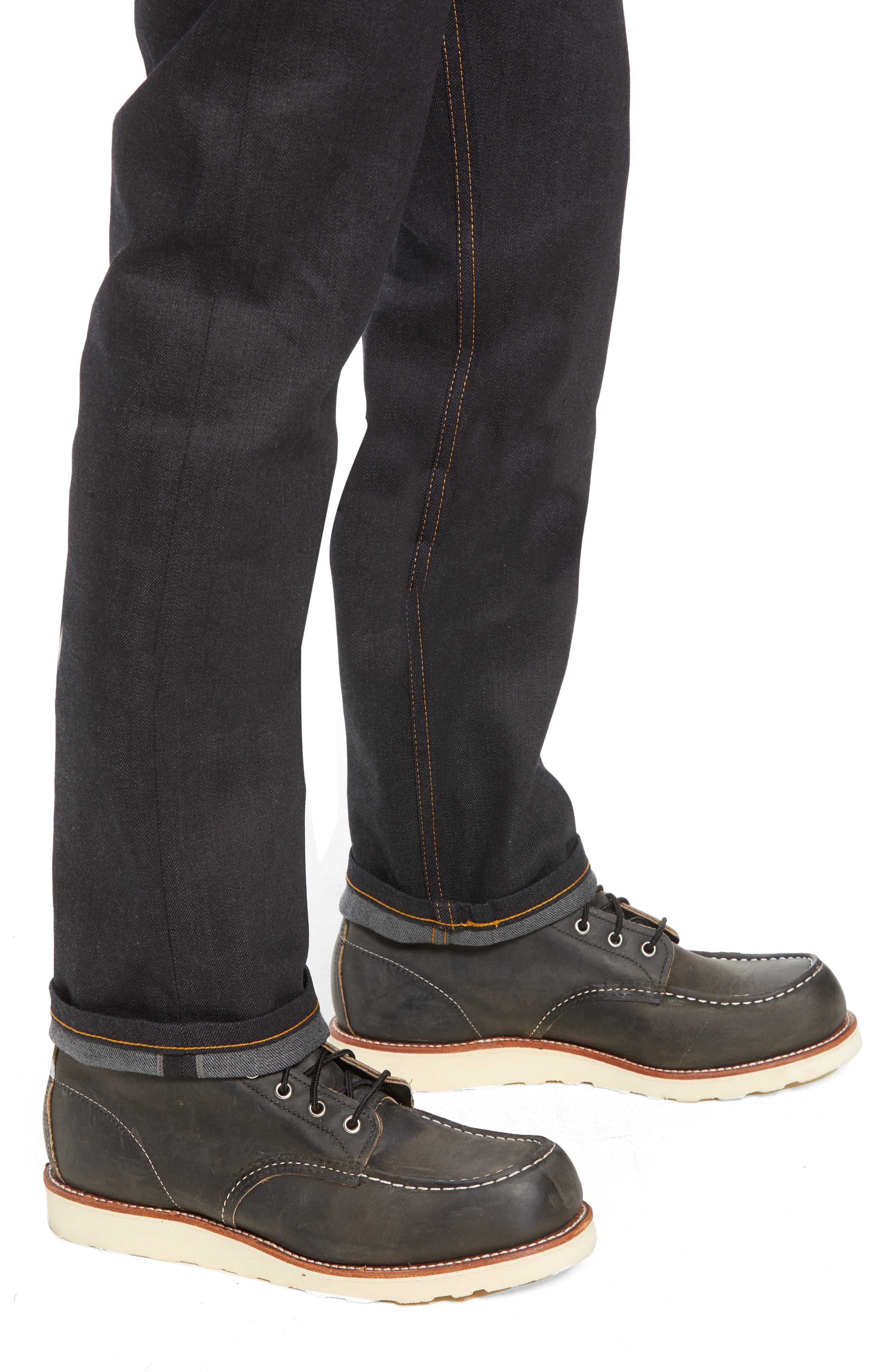 NAKED & FAMOUS DENIM,                             Weird Guy Slim Fit Jeans,                             Alternate thumbnail 4, color,                             DEEP INDIGO STRETCH SELVEDGE