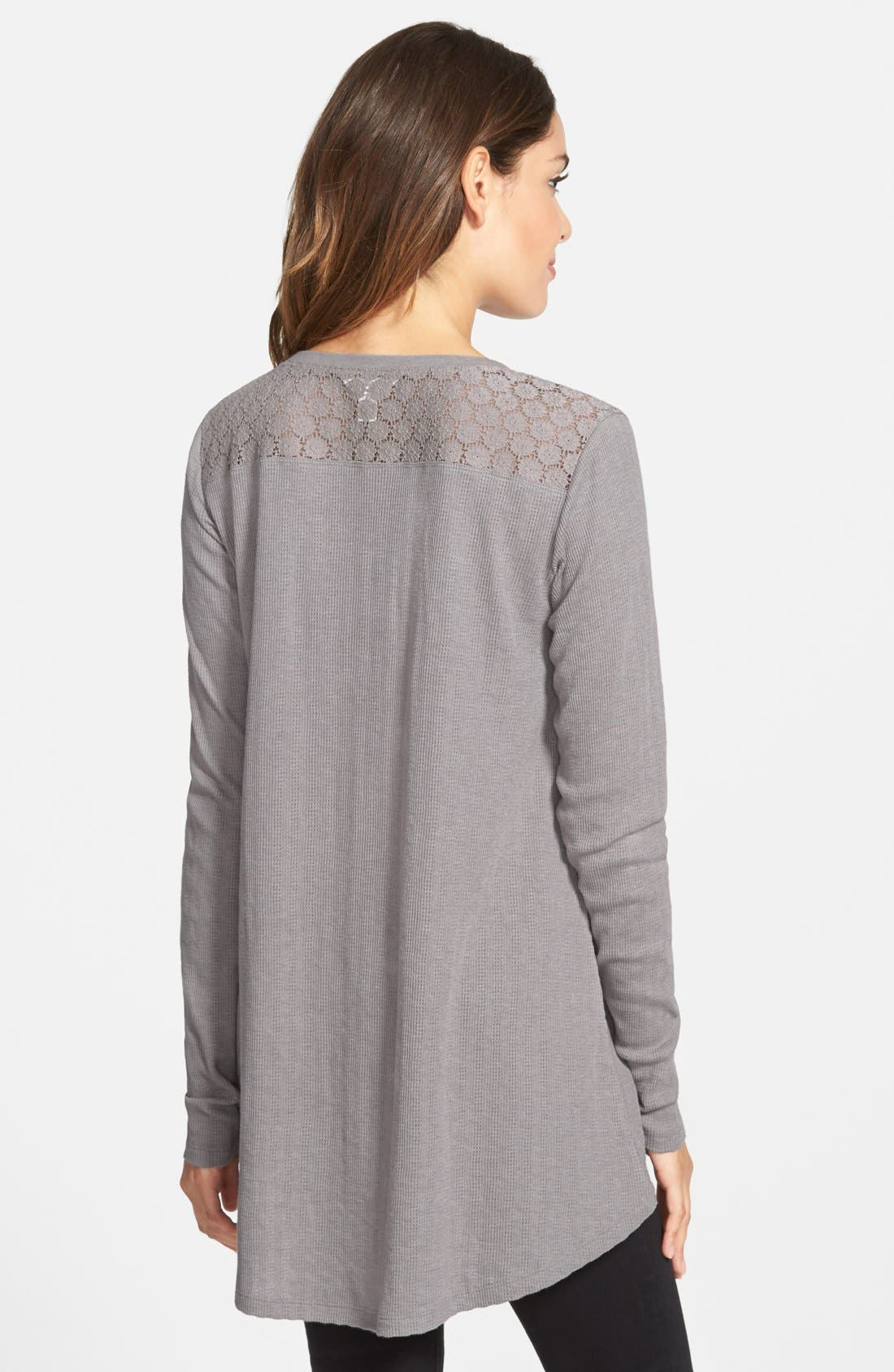 Lace Henley Tee,                             Alternate thumbnail 2, color,                             030
