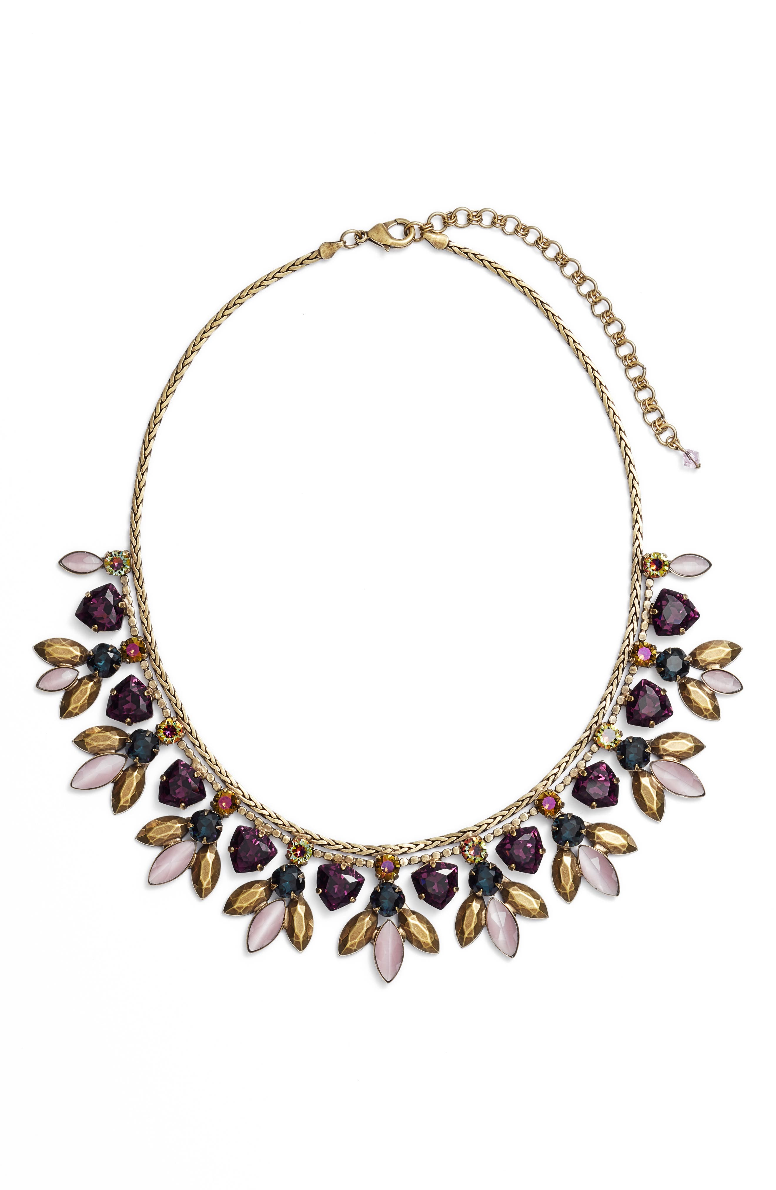 SORRELLI Metal & Crystal Bib Statement Necklace in Purple Multi