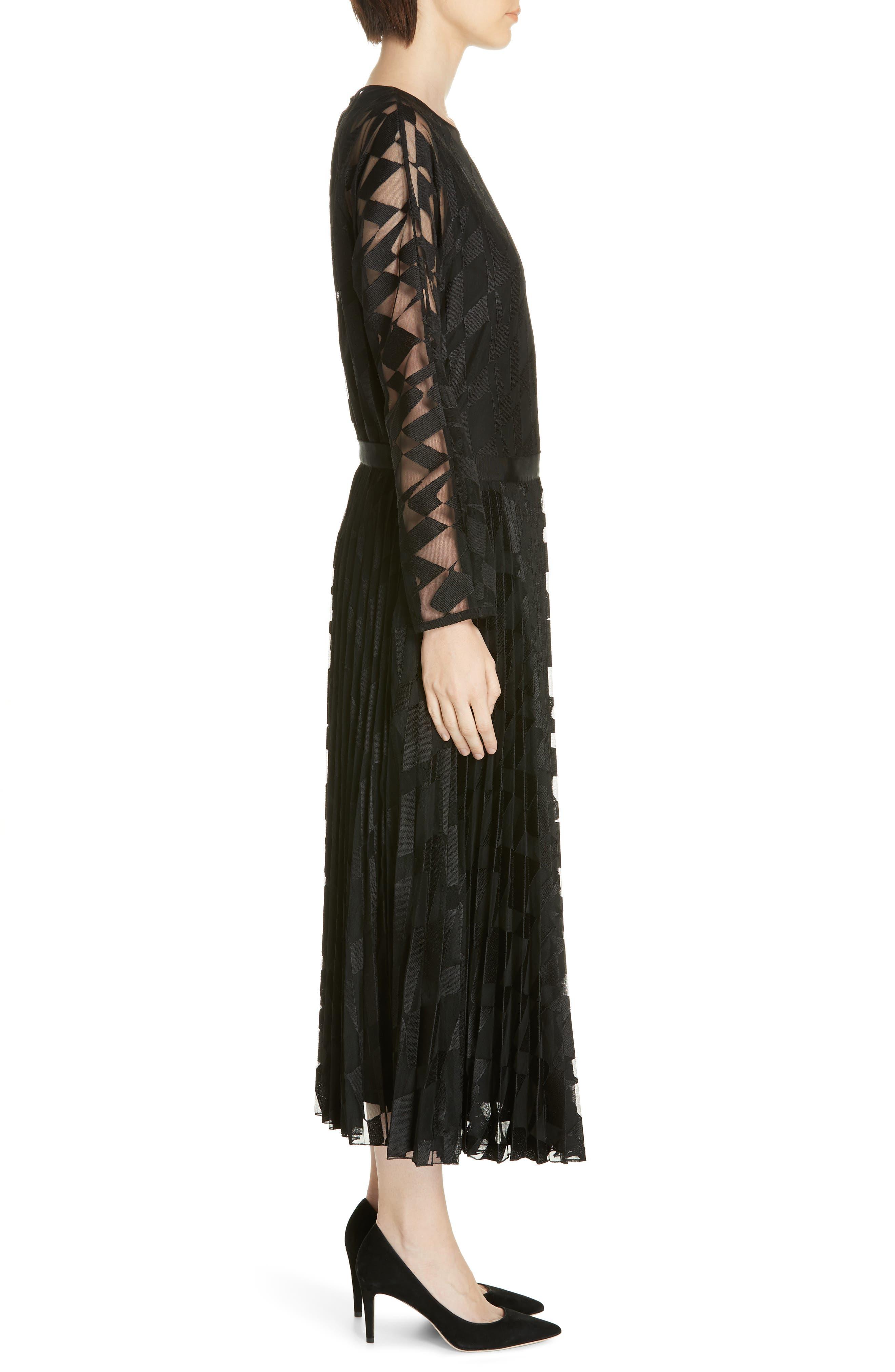 Dalace Pleat & Geo Print Midi Dress,                             Alternate thumbnail 3, color,                             BLACK