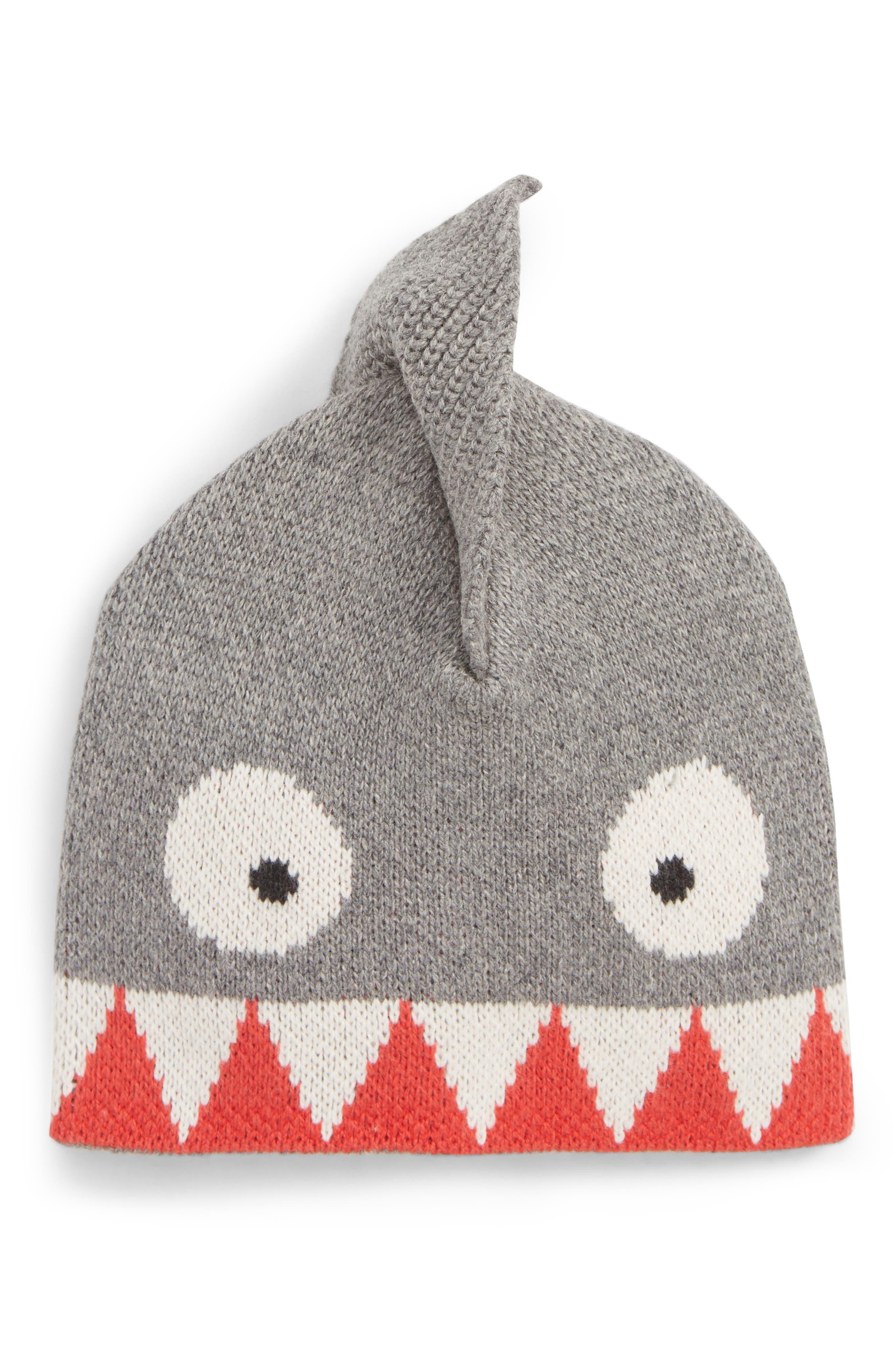 Shark Hat,                             Main thumbnail 1, color,                             SILVER GREY VERMILLION