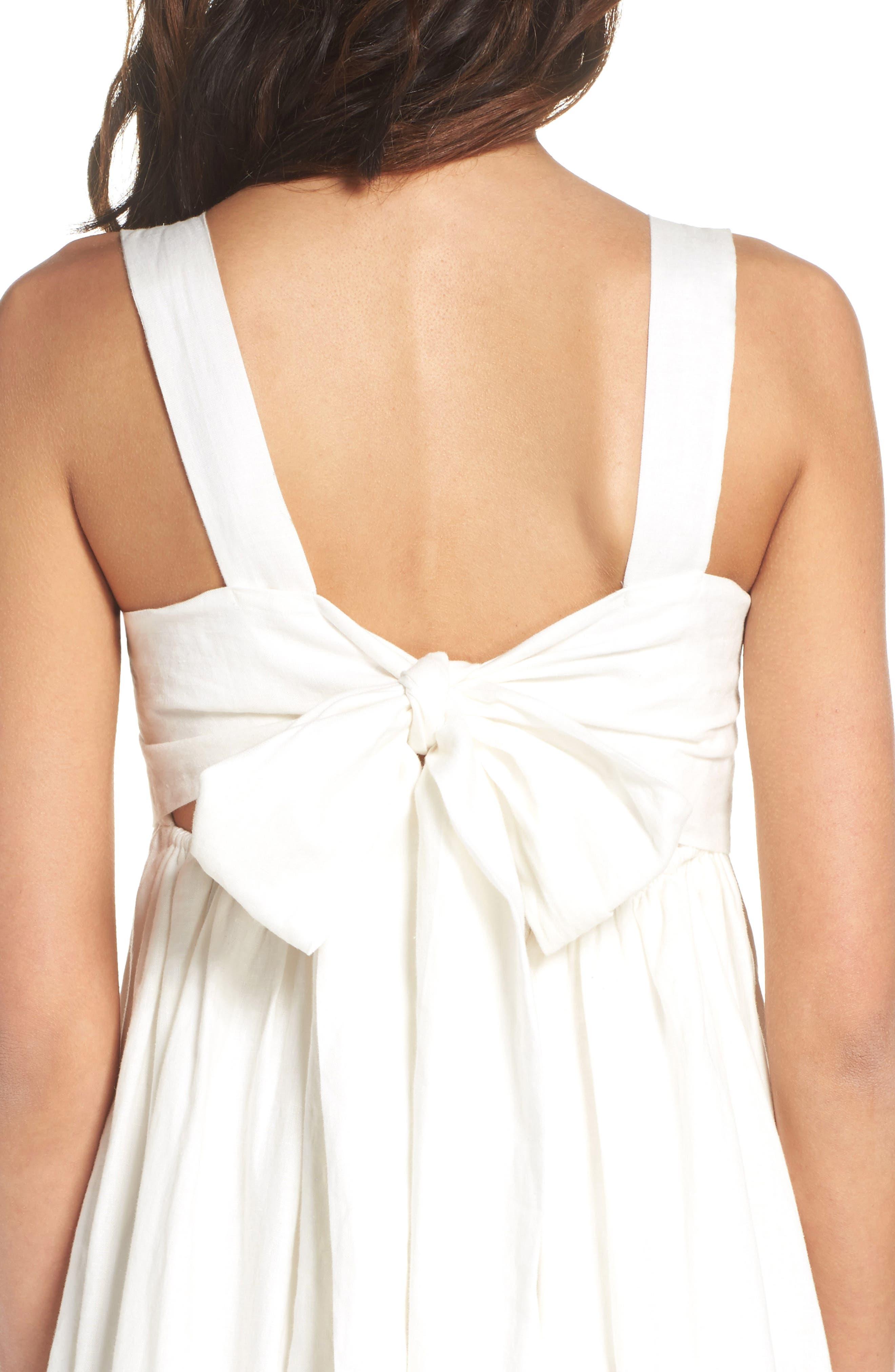 Forget Me Not Linen Midi Dress,                             Alternate thumbnail 4, color,                             100