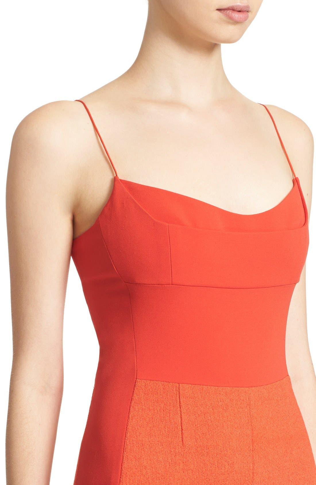 Texture Wool & Crêpe Bustier Dress,                             Alternate thumbnail 4, color,                             600