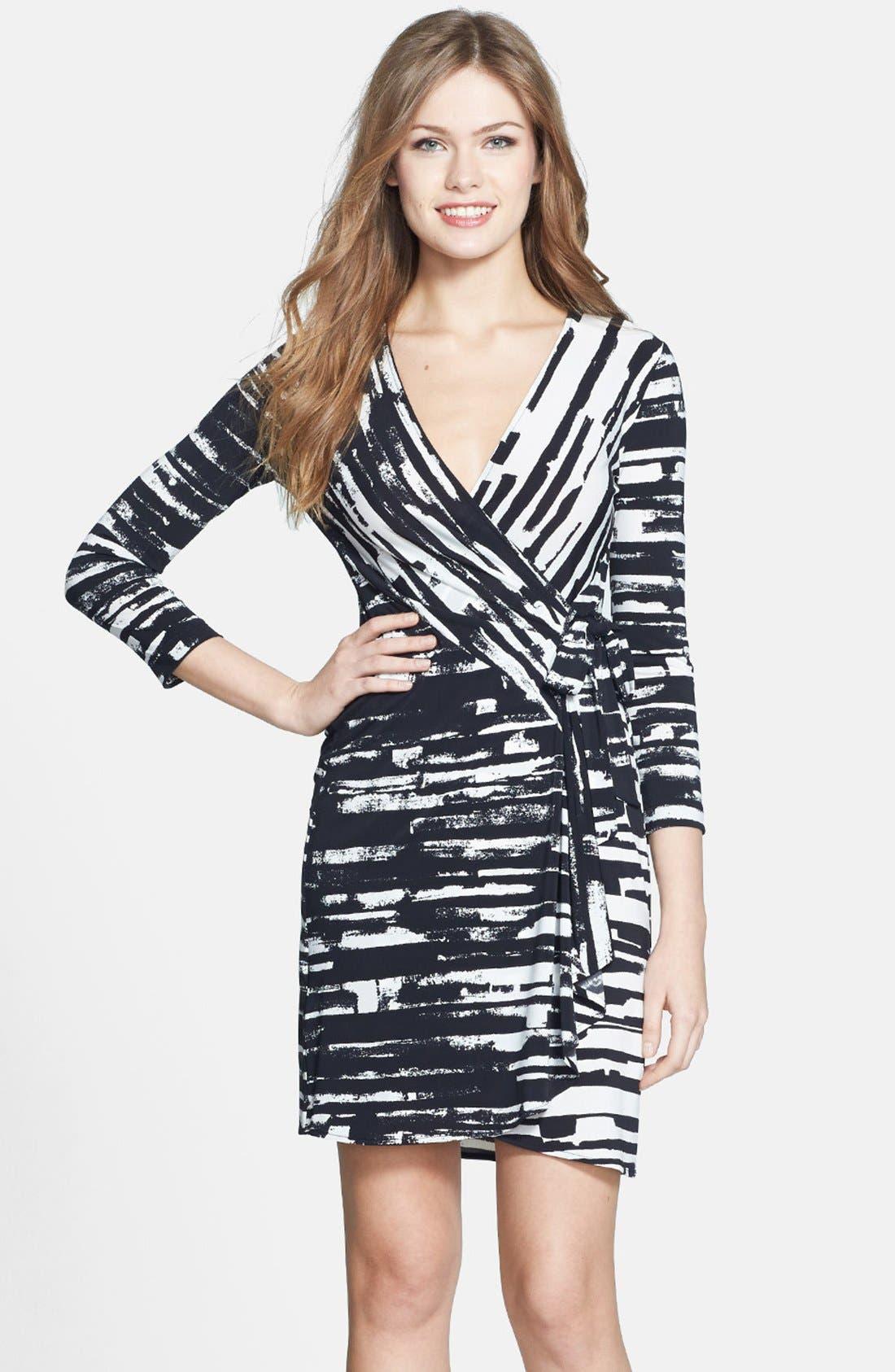 'Adele' Print Matte Jersey Wrap Dress,                             Main thumbnail 1, color,                             003