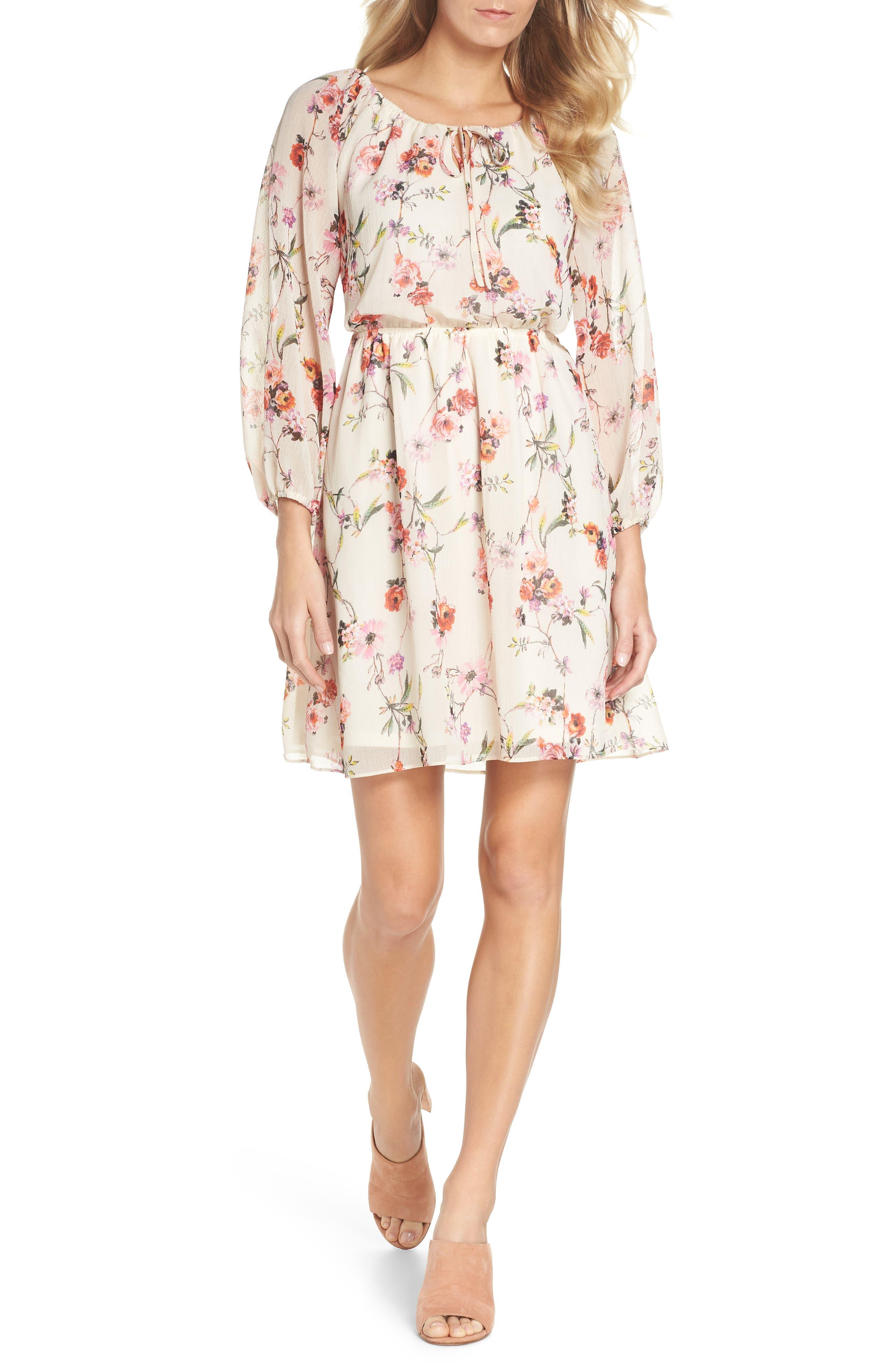Bonita Oasis Floral Dress,                             Main thumbnail 1, color,                             IVORY MULTI