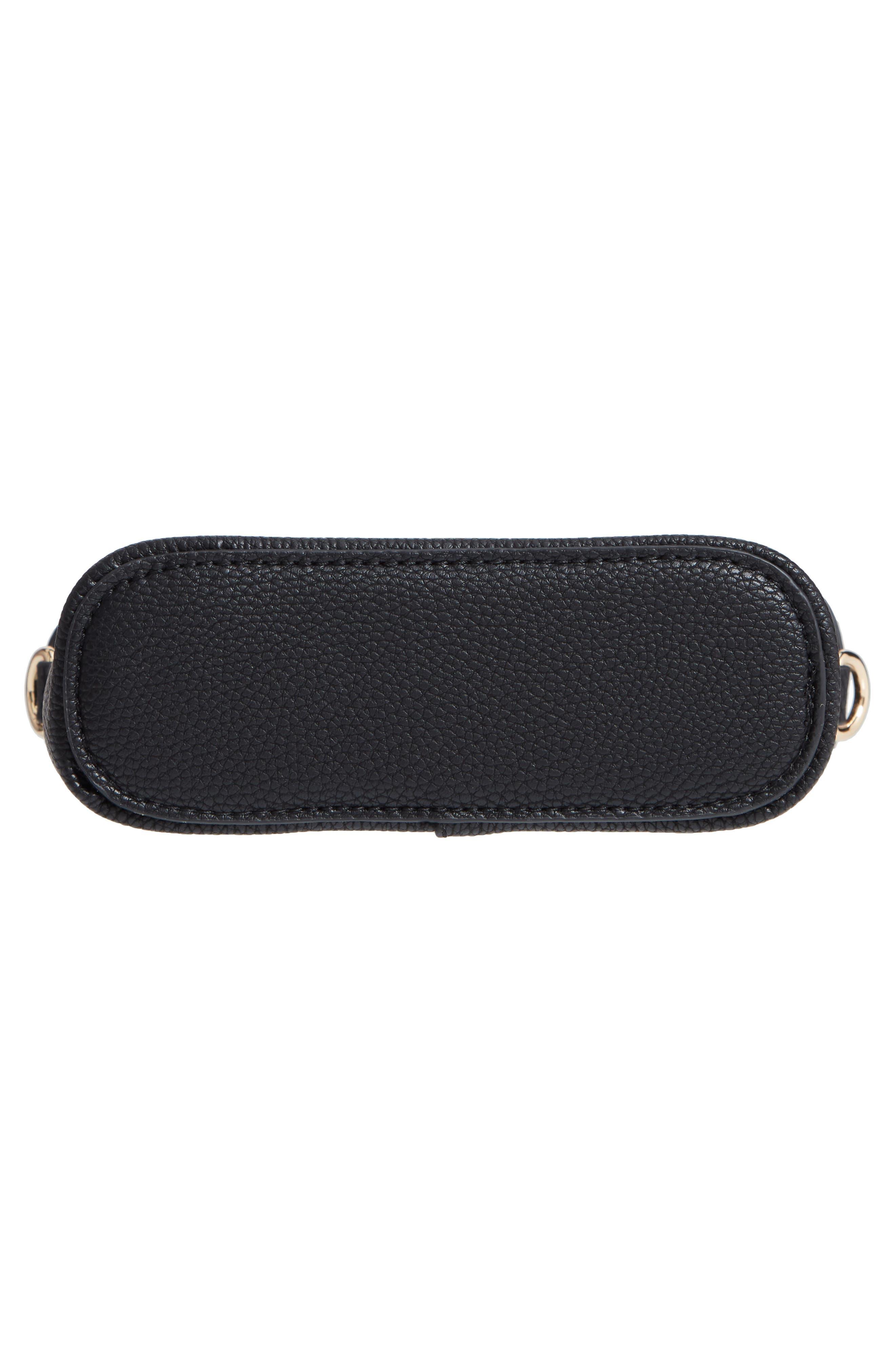 Lindsey Faux Leather Crossbody Bag,                             Alternate thumbnail 6, color,                             BLACK