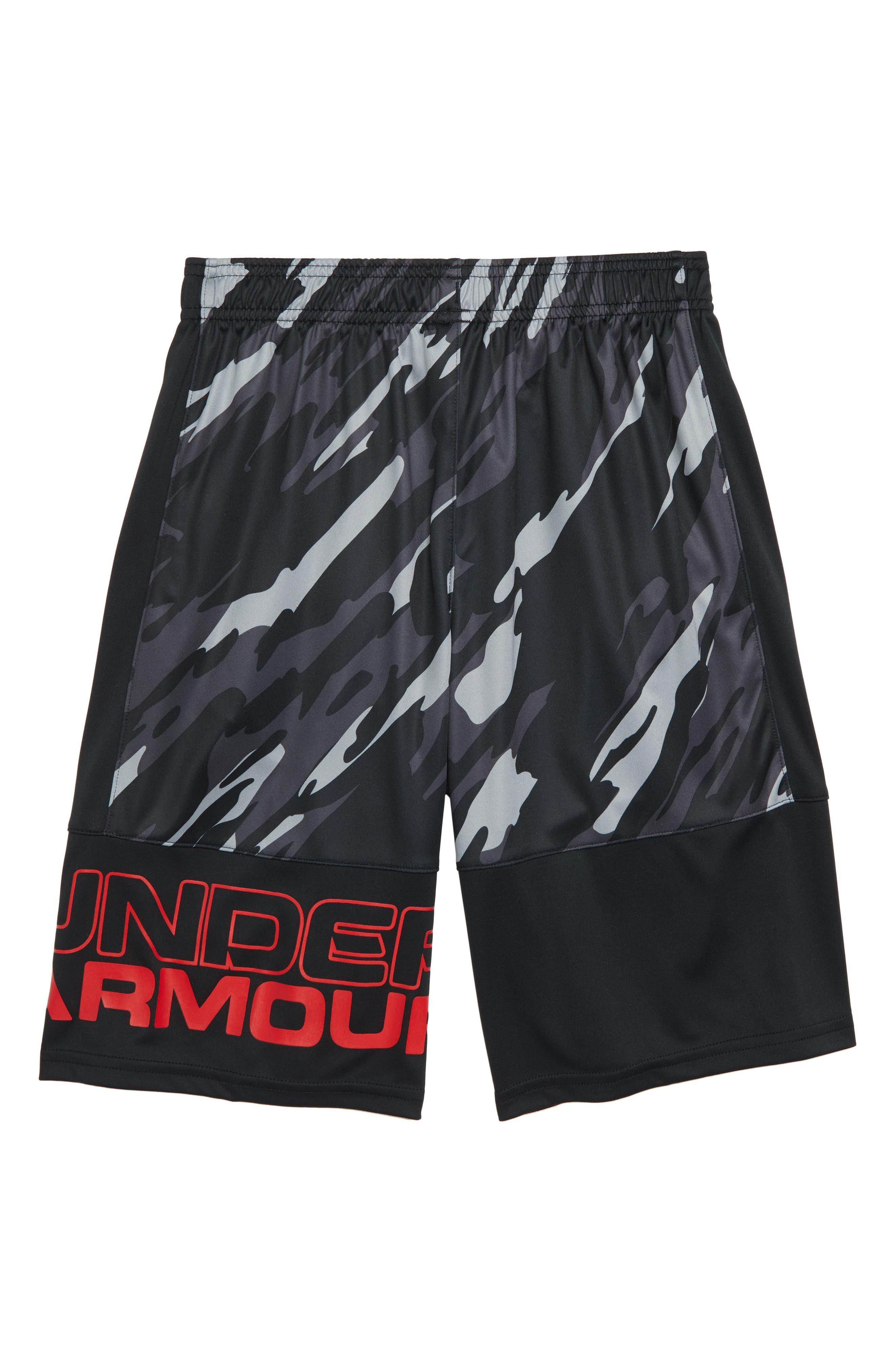 Stunt HeatGear<sup>®</sup> Shorts,                             Alternate thumbnail 2, color,                             BLACK/RED