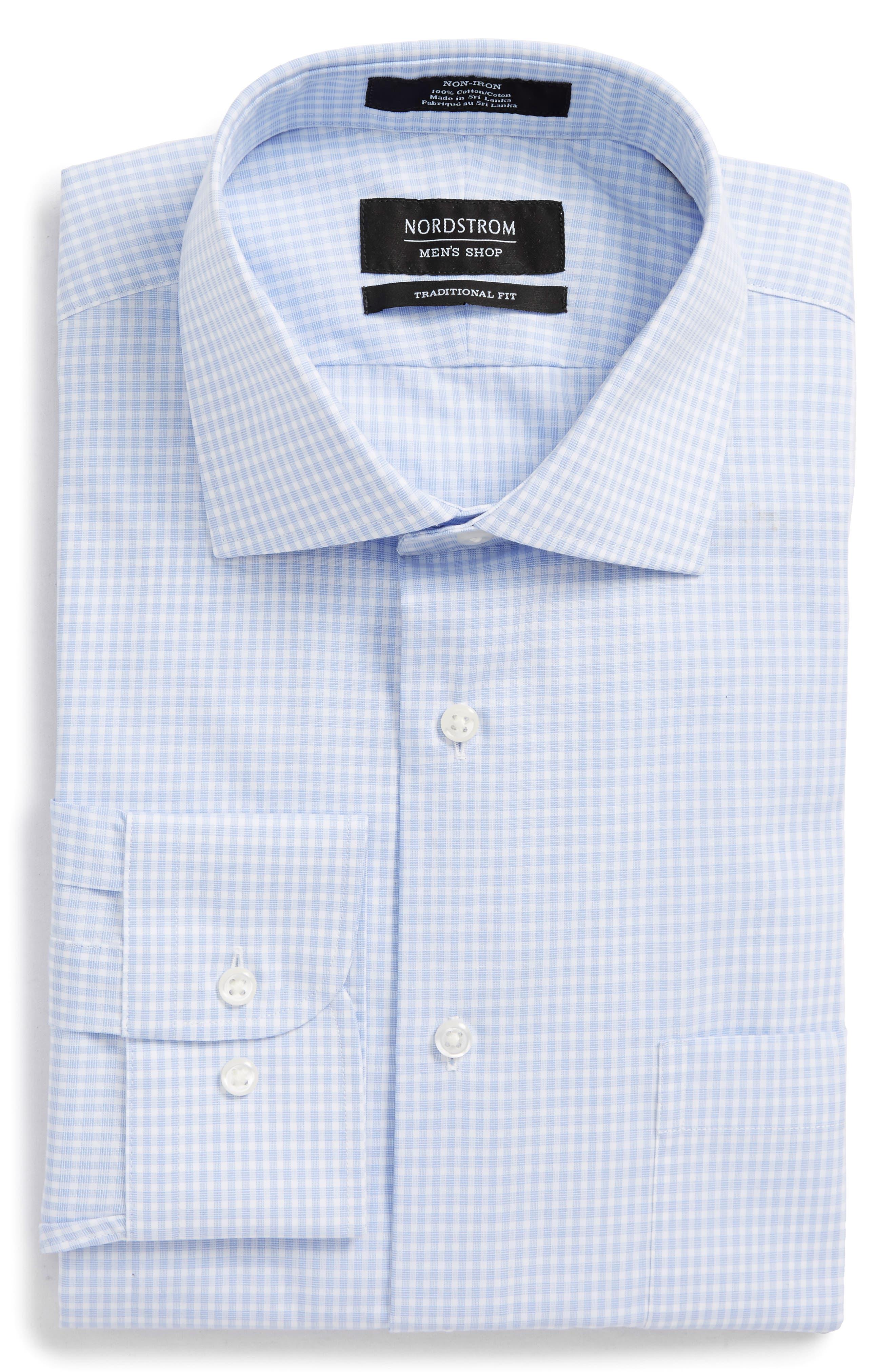 Traditional Fit Non-Iron Check Dress Shirt,                             Alternate thumbnail 5, color,                             BLUE XENON
