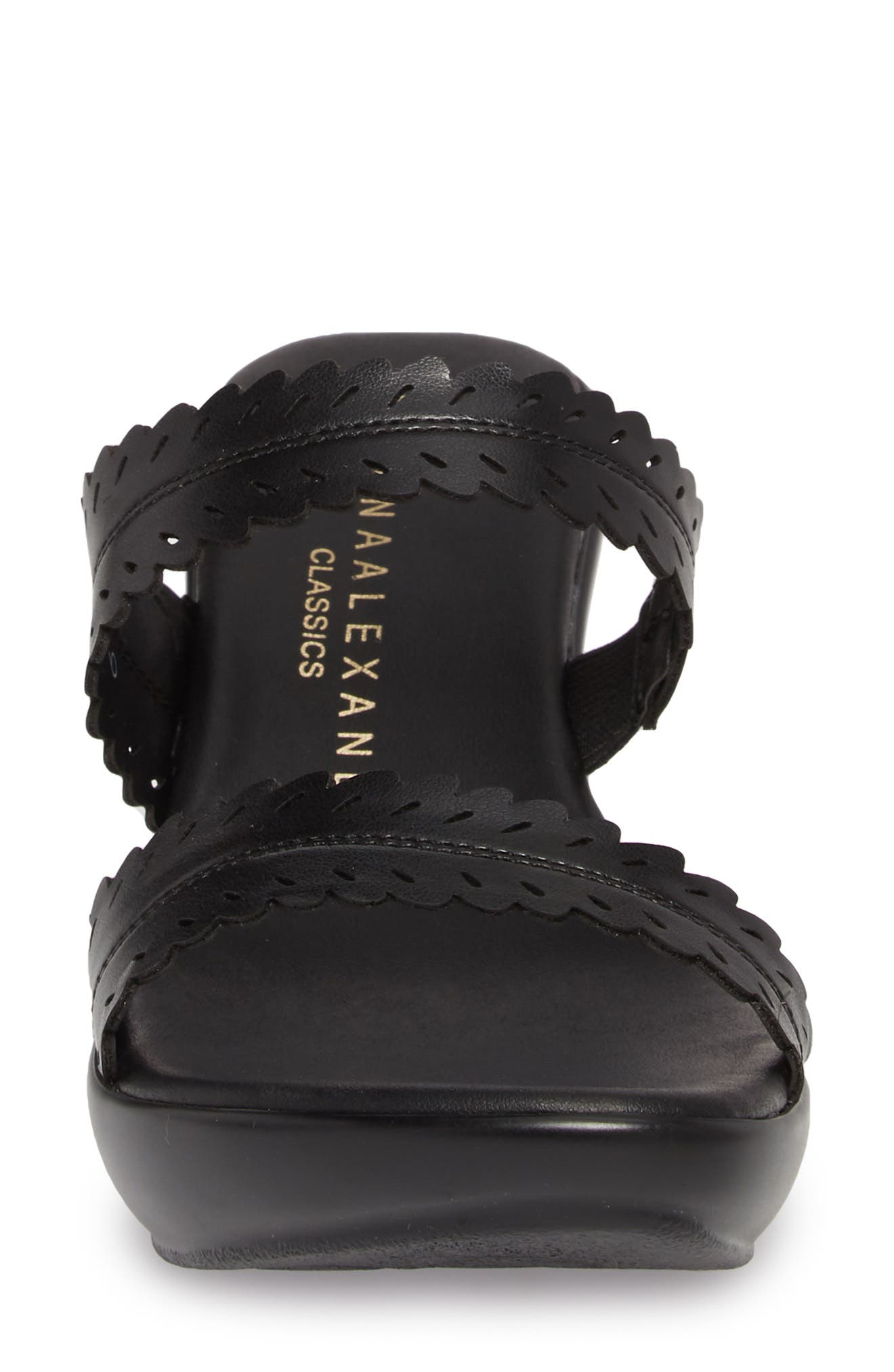 Pouty Wedge Sandal,                             Alternate thumbnail 4, color,                             BLACK FABRIC