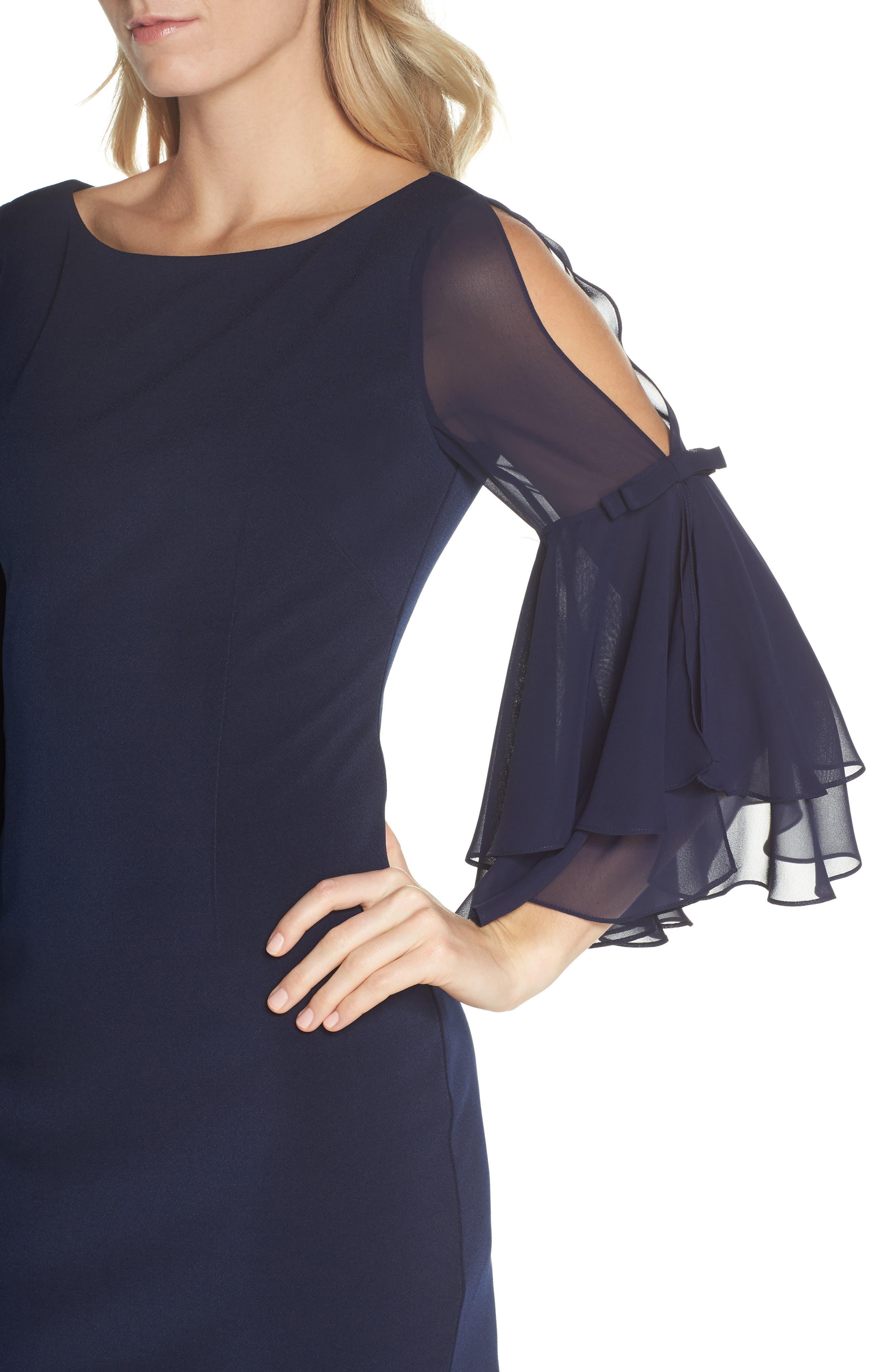 Ruffle Sleeve Scuba Shift Dress,                             Alternate thumbnail 4, color,                             410