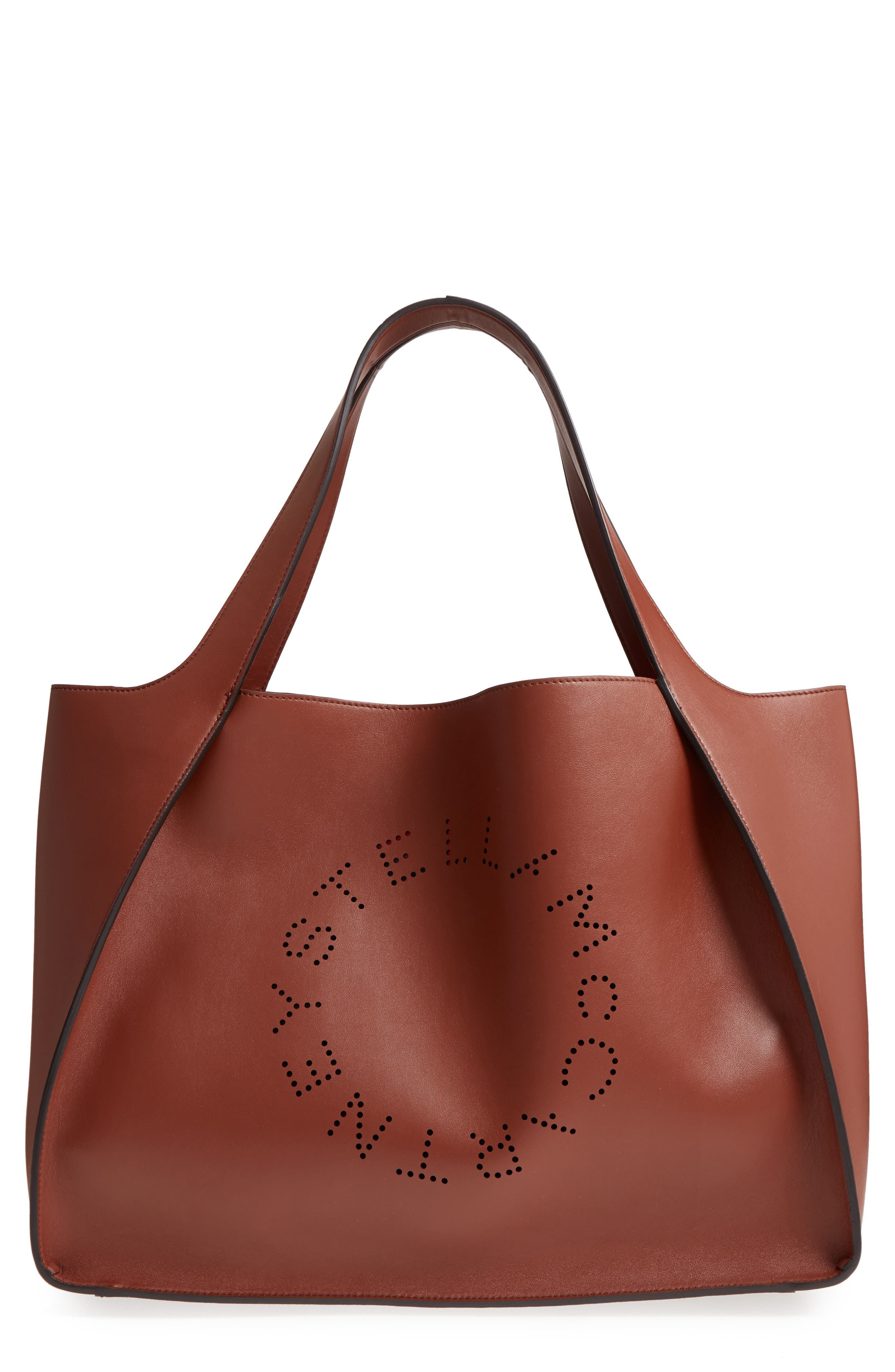 Medium Perforated Logo Faux Leather Tote - Brown in Yellow