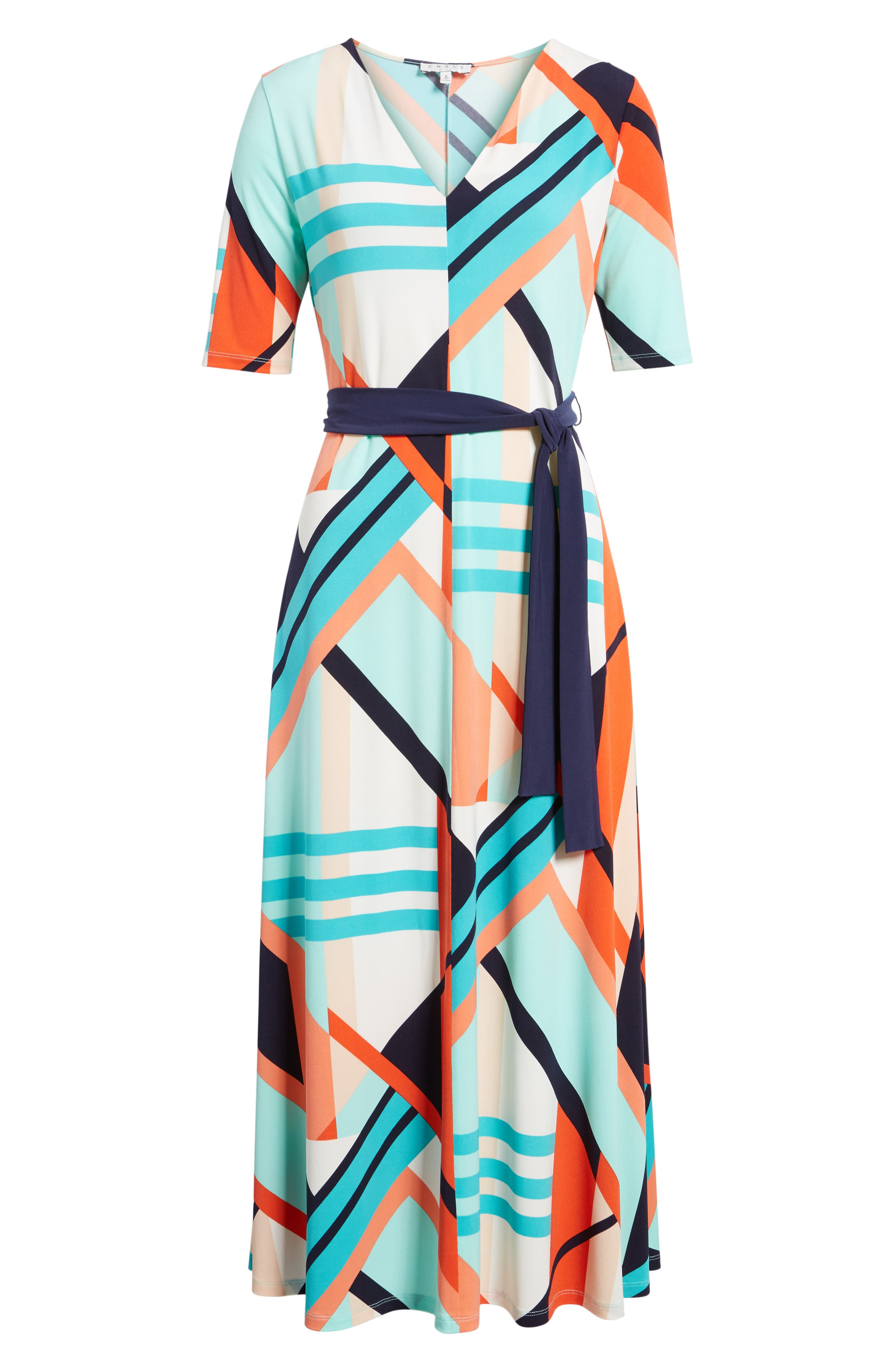 Belted Geo Print Midi Dress,                             Alternate thumbnail 6, color,