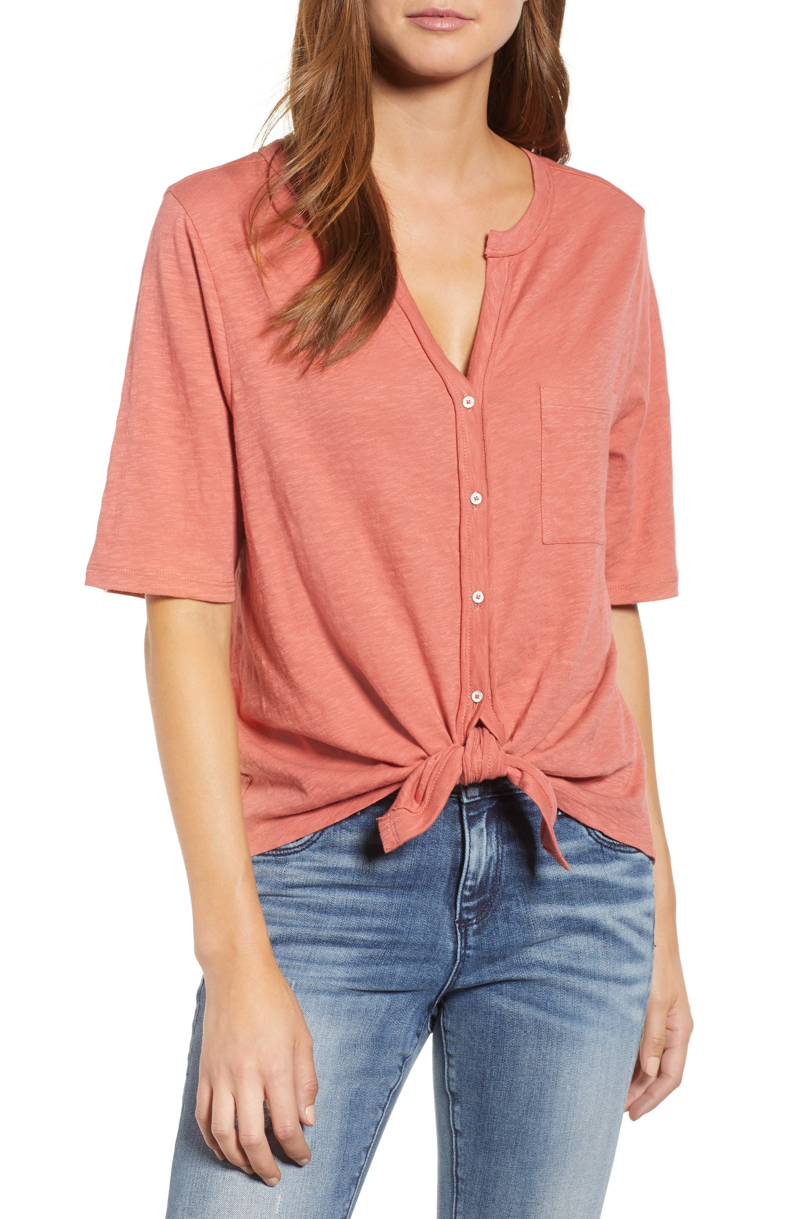 Tie Front Tee,                             Main thumbnail 1, color,                             951