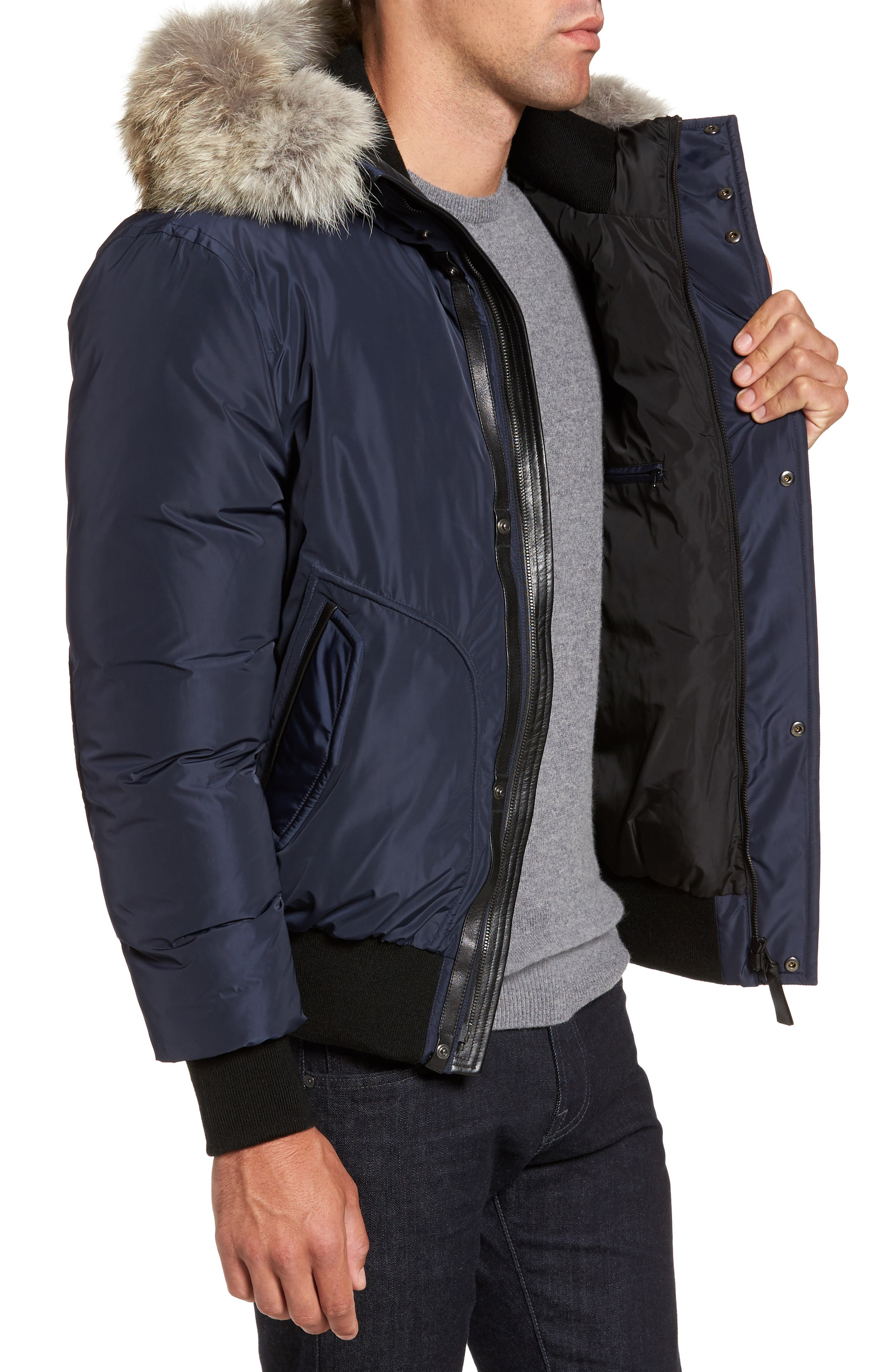 'Florian' Down Bomber Jacket with Genuine Coyote Fur Trim,                             Alternate thumbnail 3, color,                             INK