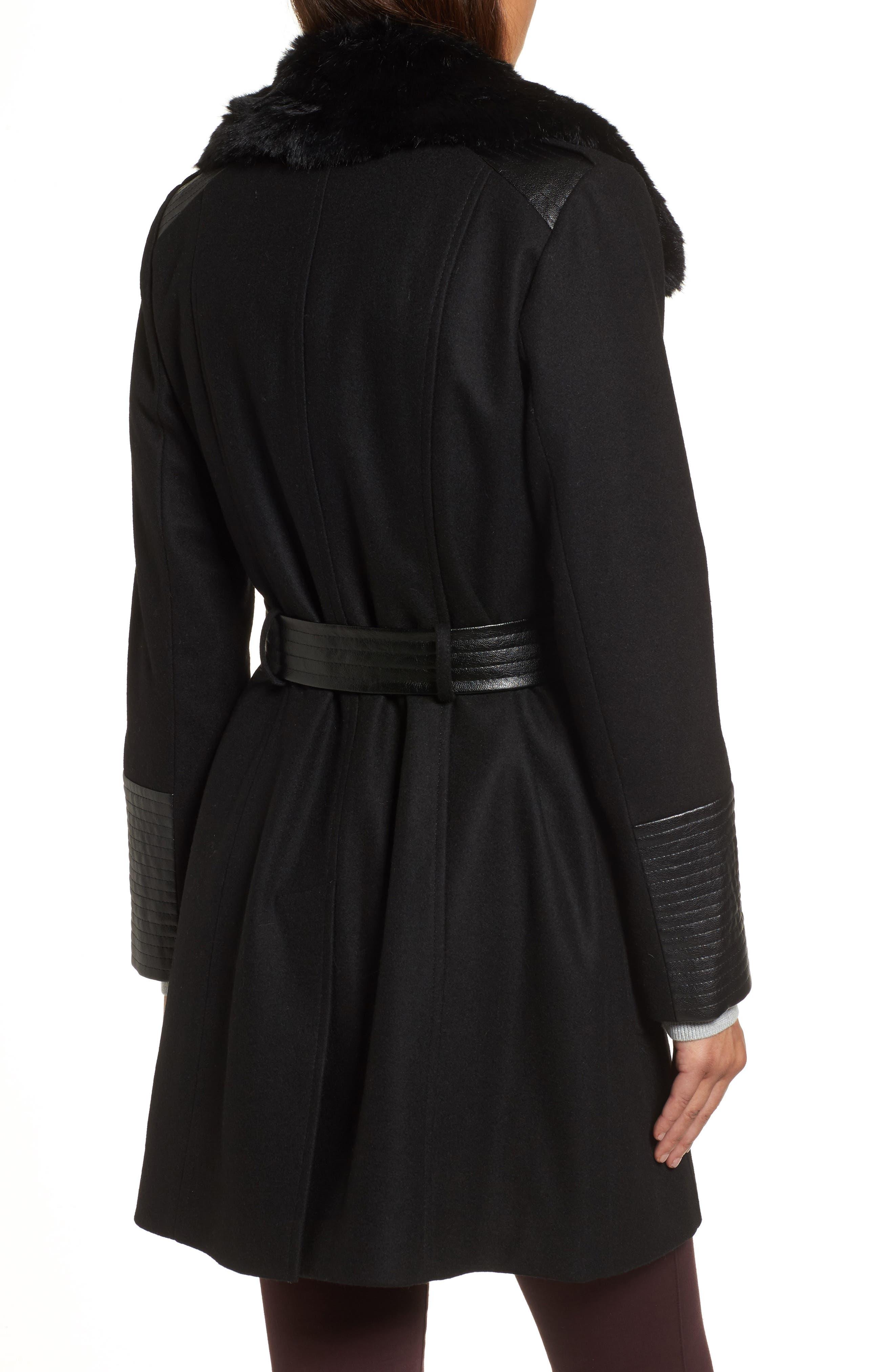 Faux Leather & Faux Fur Trim Belted Wool Blend Coat,                             Alternate thumbnail 17, color,