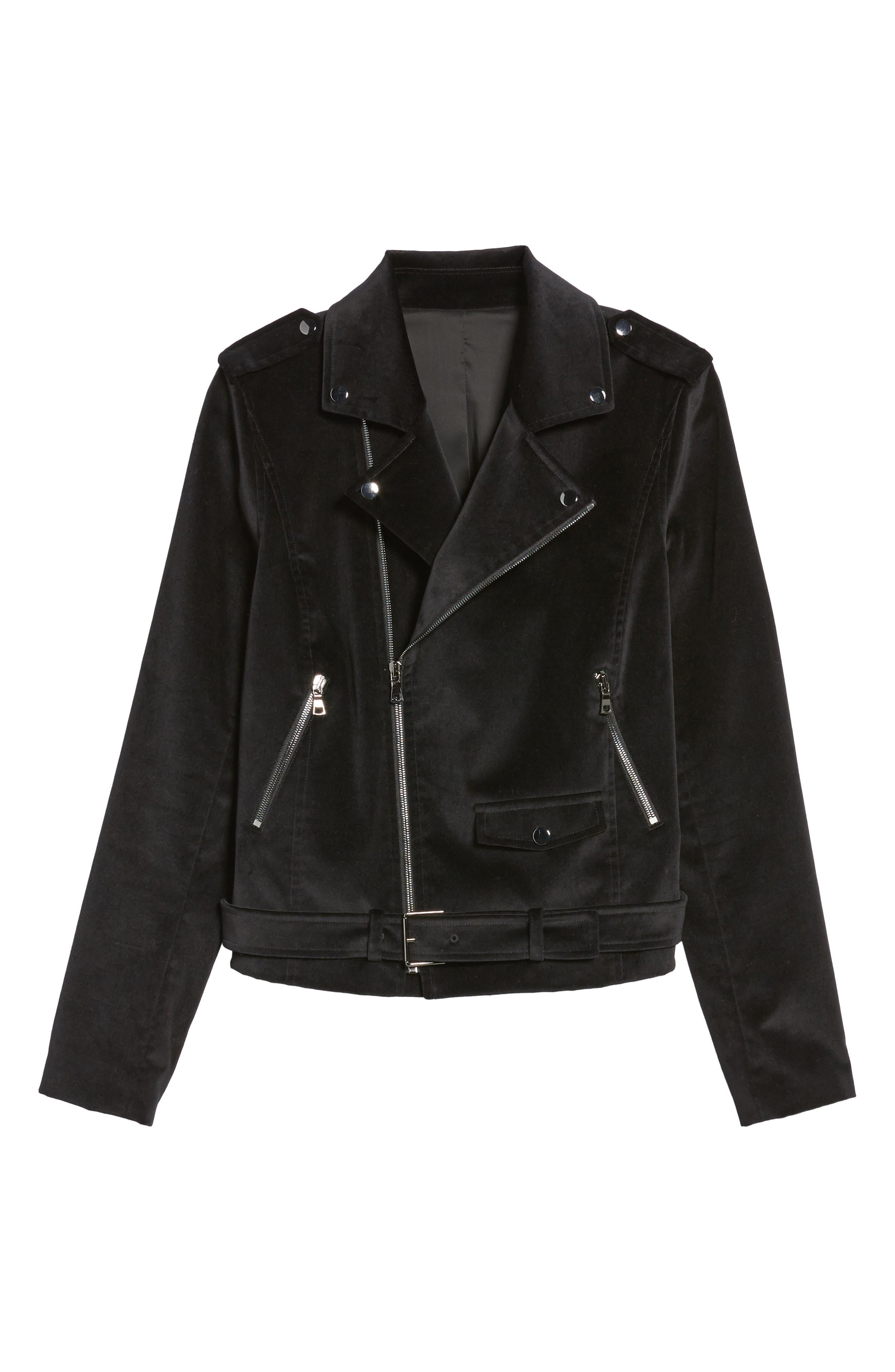 Velvet Moto Jacket,                             Alternate thumbnail 5, color,                             001