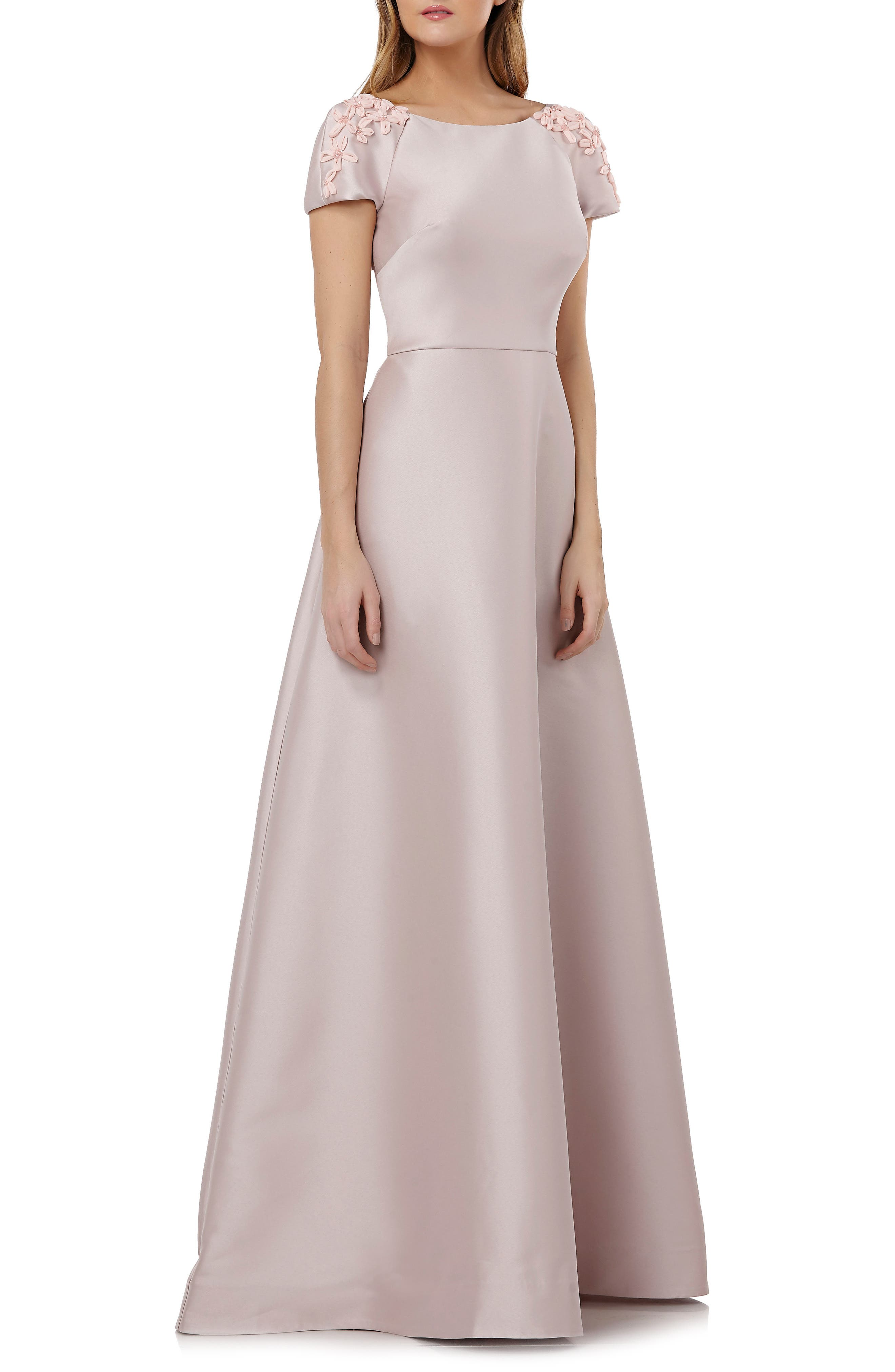 Embellished Sleeve Stretch Mikado Gown,                             Alternate thumbnail 3, color,                             270