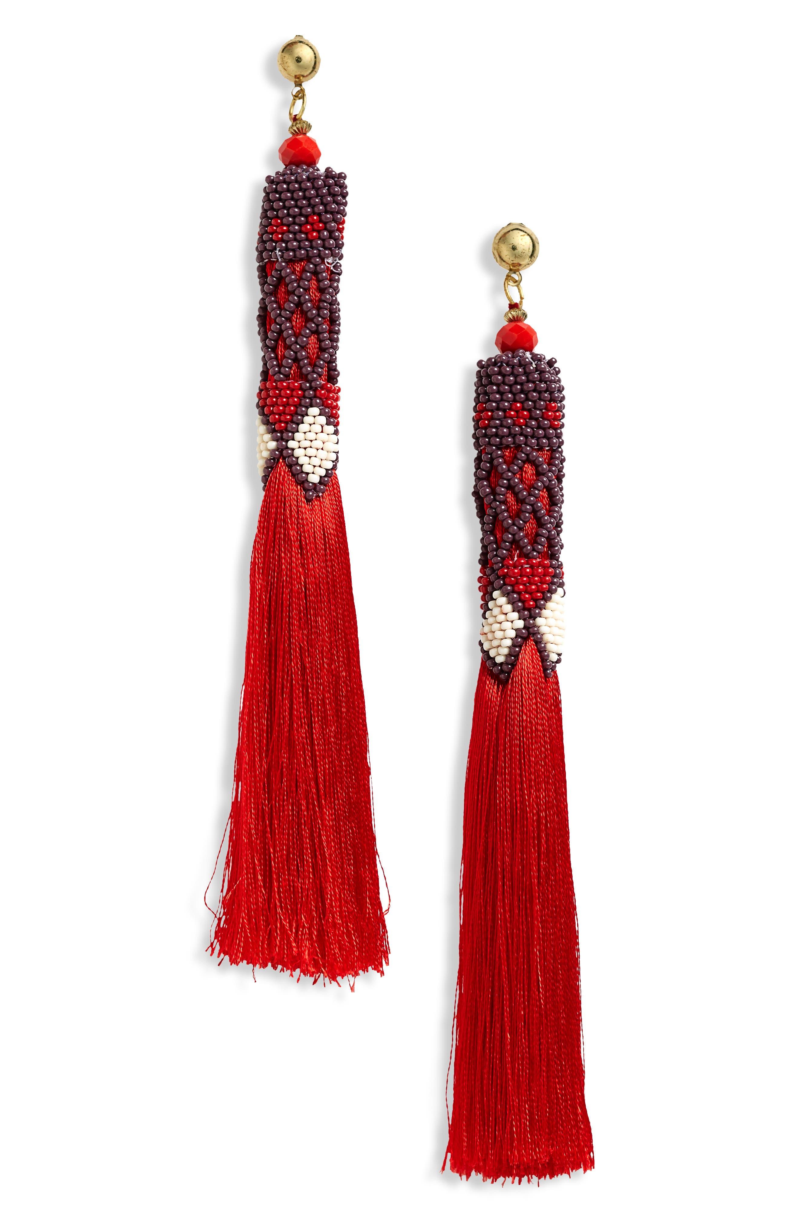 Beaded Tassel Earrings,                         Main,                         color, 600