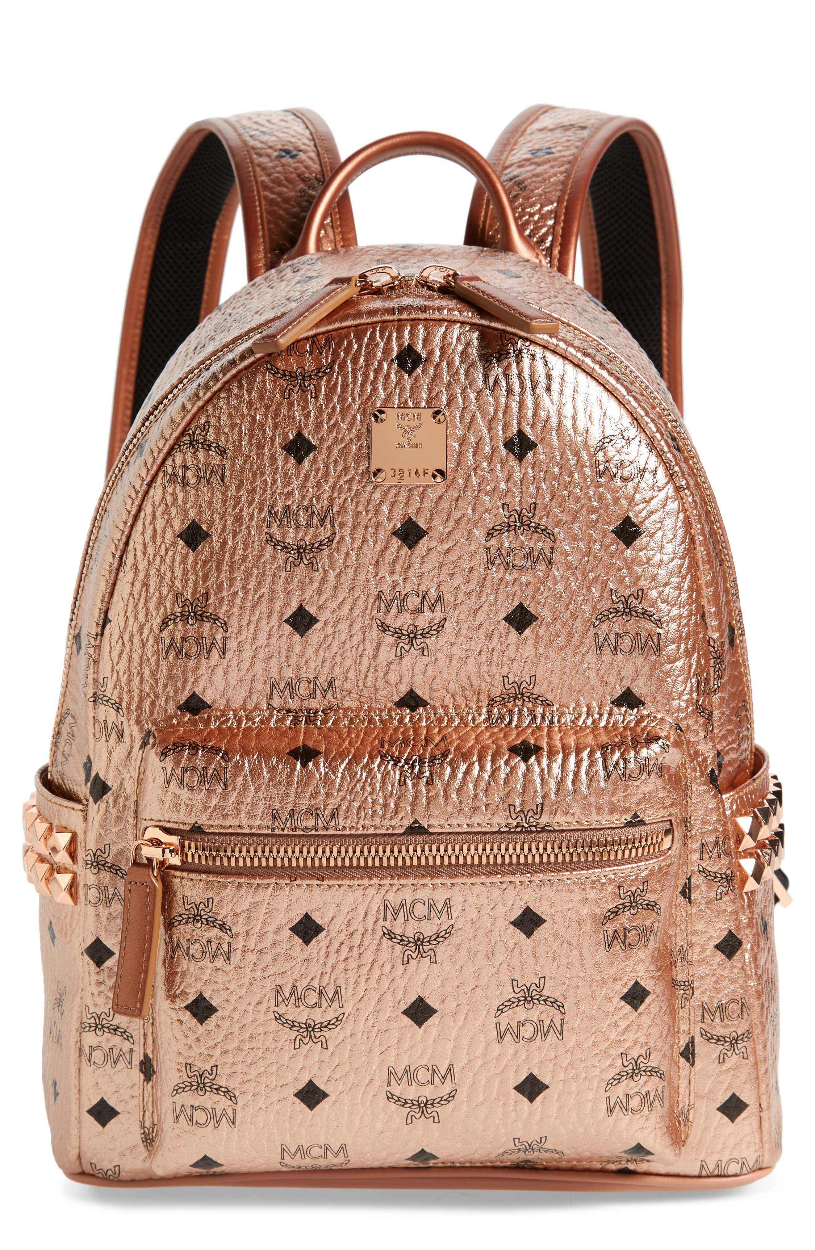 Small Stark Side Stud Coated Canvas Backpack,                             Main thumbnail 1, color,                             CHAMPAGNE GOLD