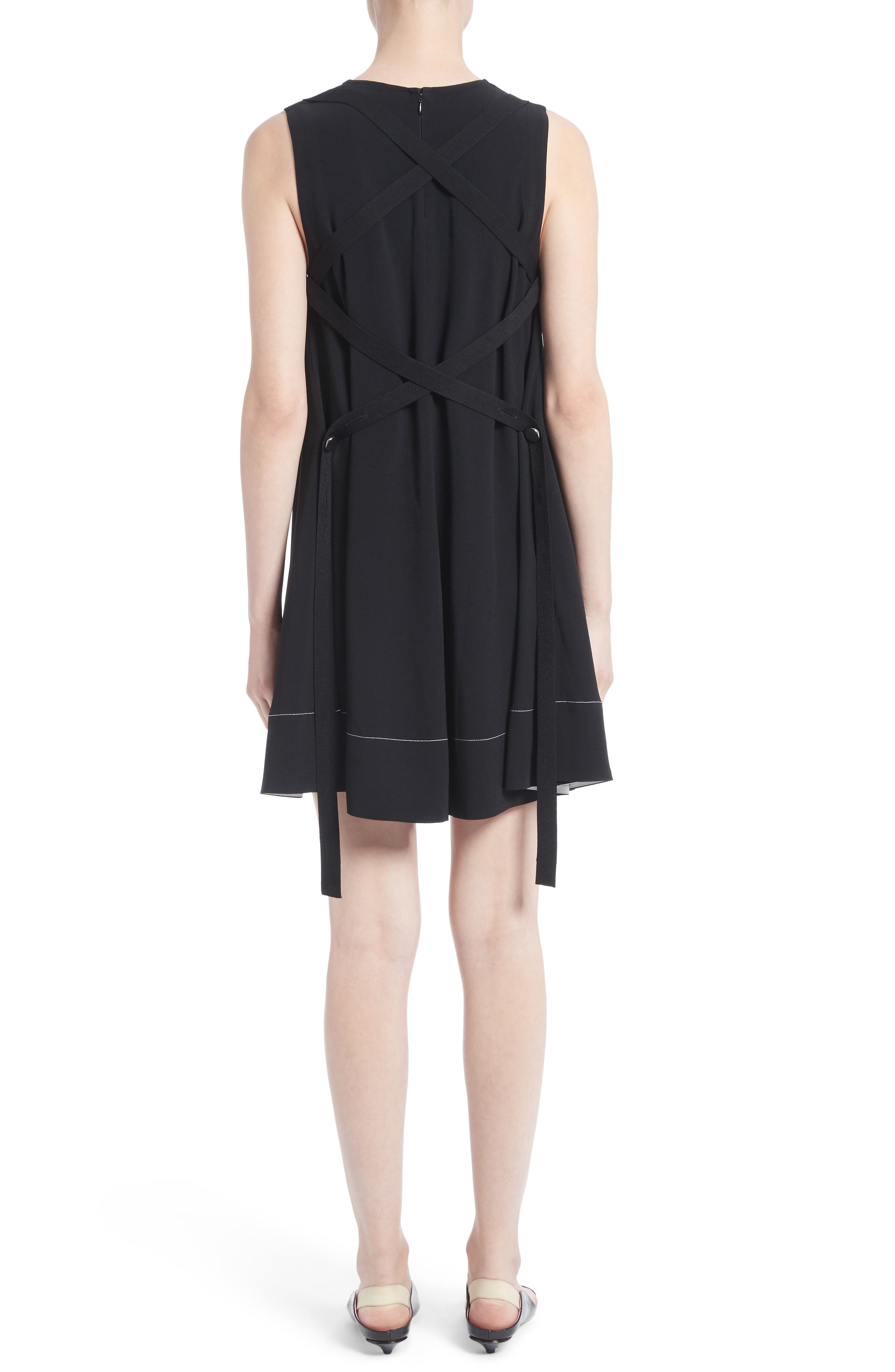 Flared Satin Back Crepe Dress,                             Alternate thumbnail 2, color,                             001