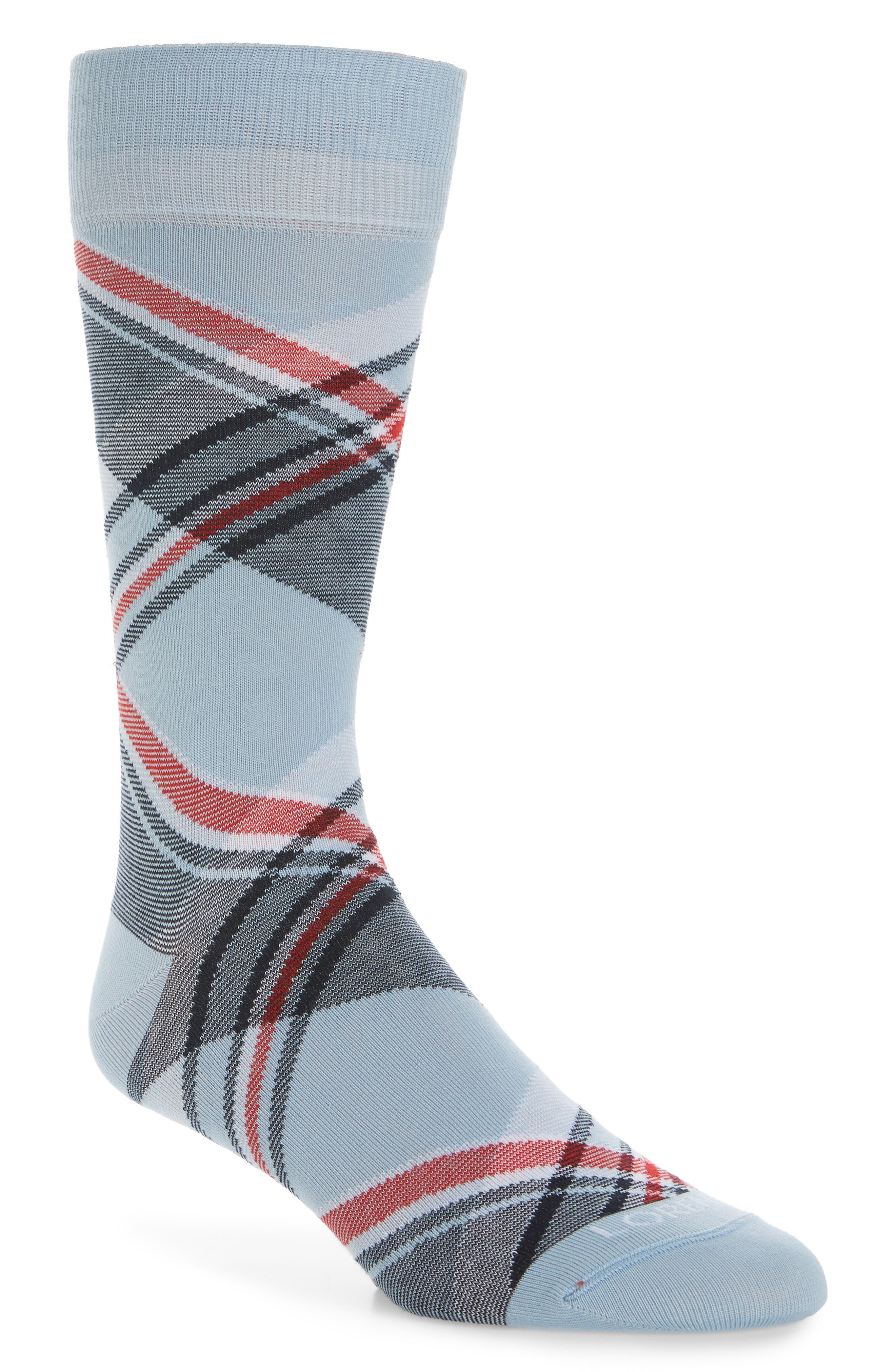 Diagonal Plaid Crew Socks,                             Main thumbnail 3, color,