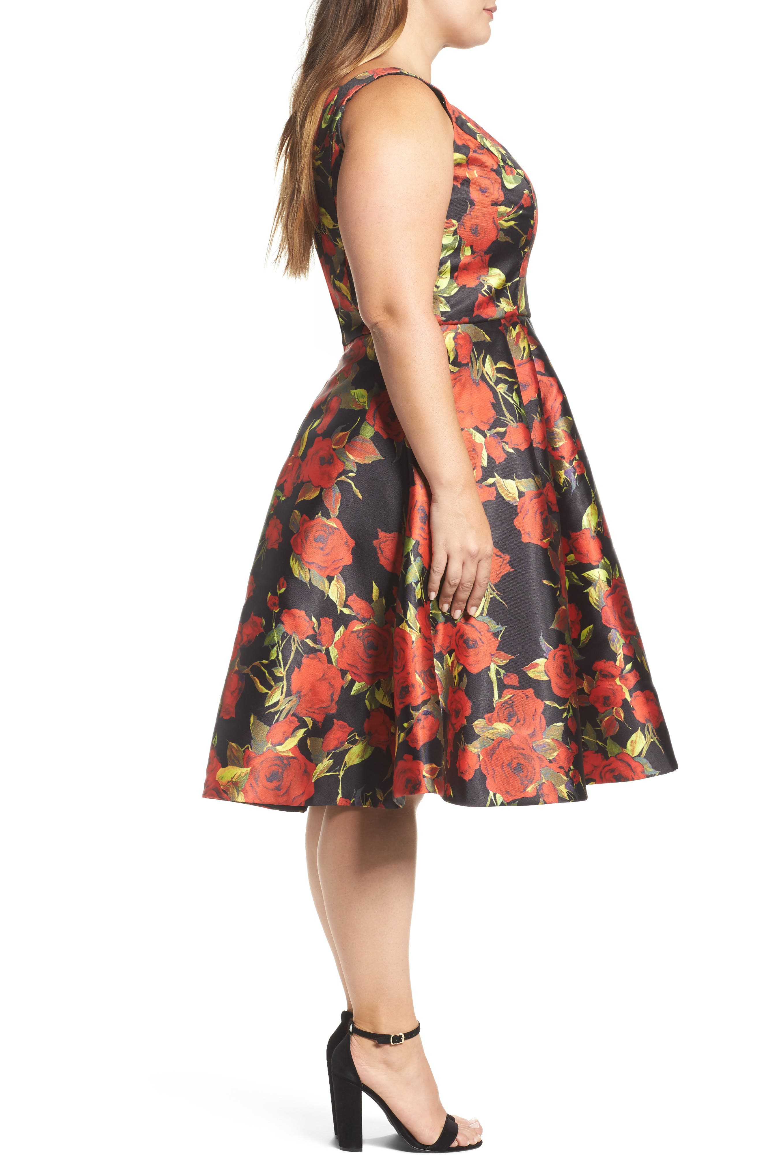 Floral Fit & Flare Dress,                             Alternate thumbnail 3, color,                             001