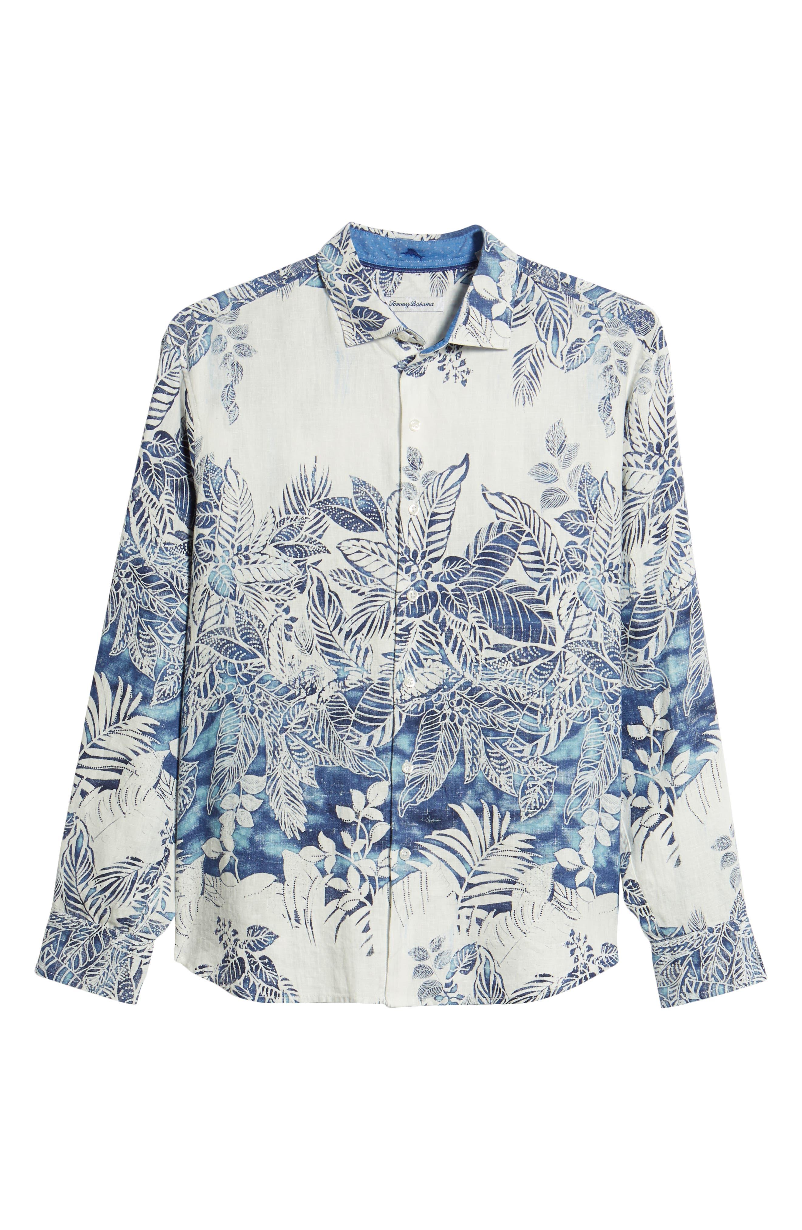Mariachi Mirage Linen Sport Shirt,                             Alternate thumbnail 6, color,                             ECLIPSE