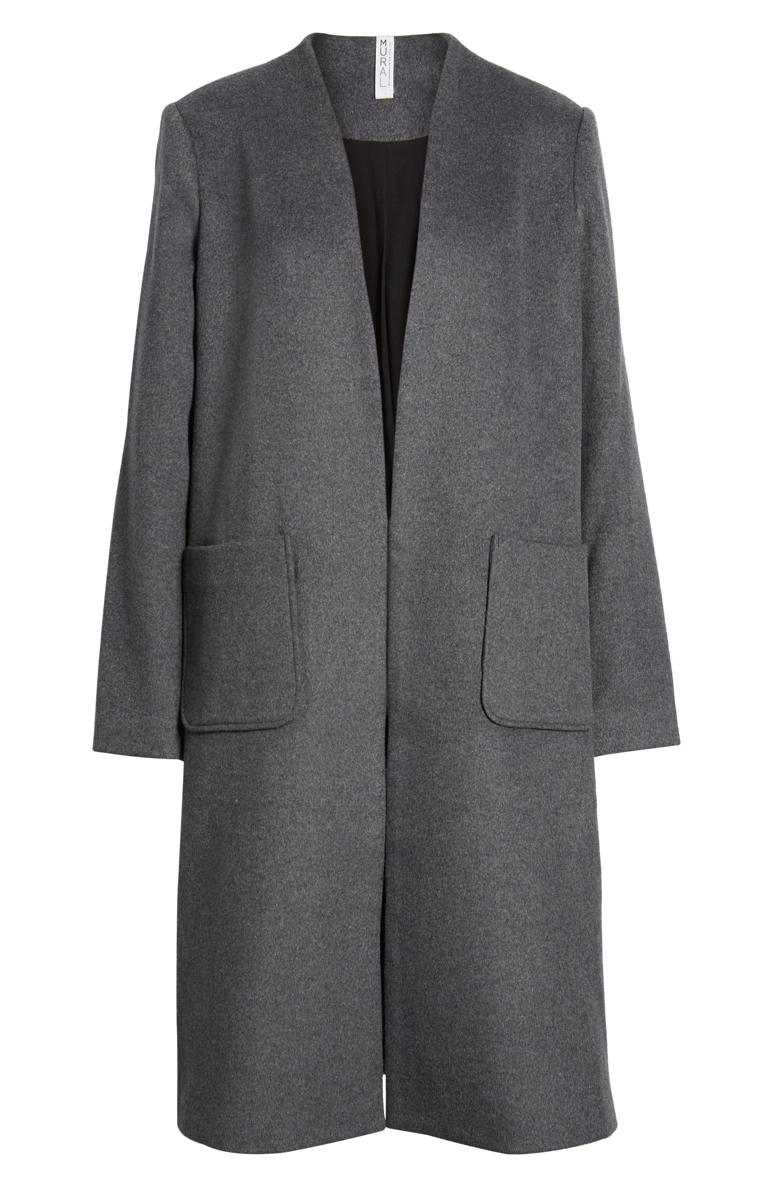 MURAL,                             Long Open Front Coat,                             Alternate thumbnail 6, color,                             CHARCOAL GREY