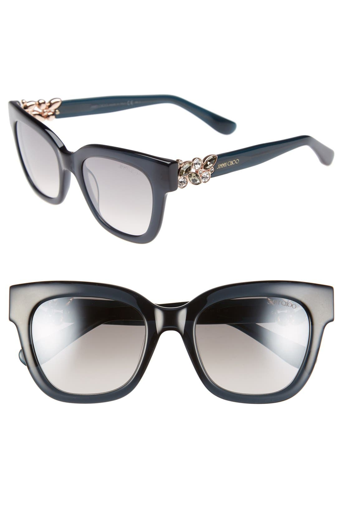 'Maggi' 51mm Crystal Embellished Sunglasses,                             Main thumbnail 1, color,                             020