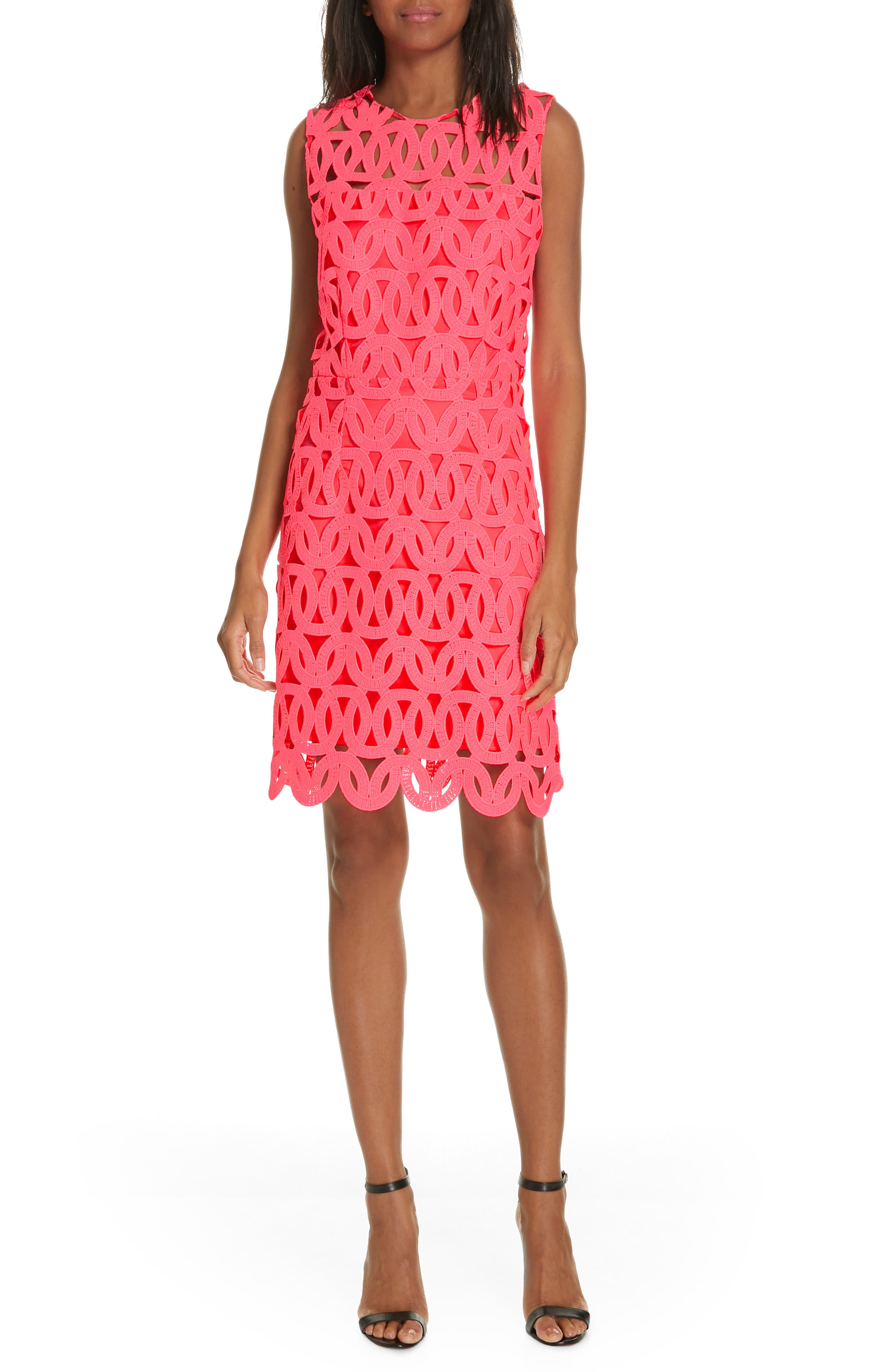 Milly Sienna Lace Detail Shift Dress, Pink