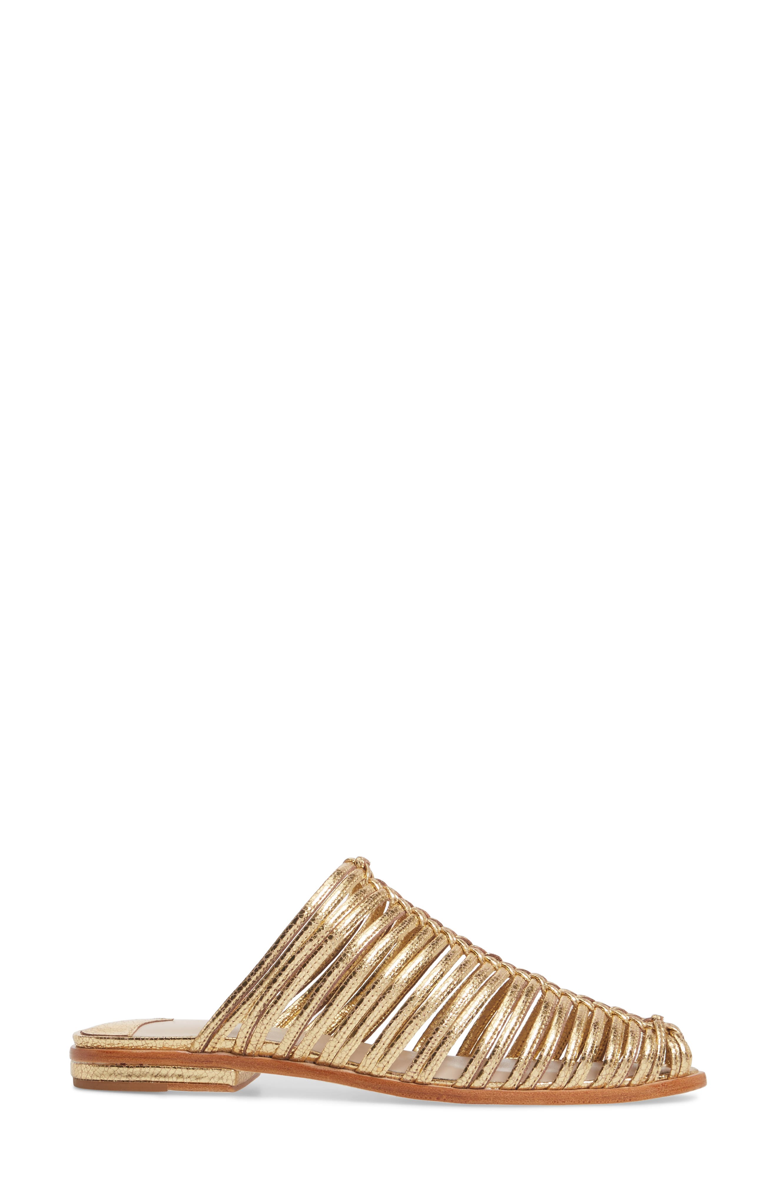Gloria Sandal,                             Alternate thumbnail 3, color,                             GOLD LEATHER