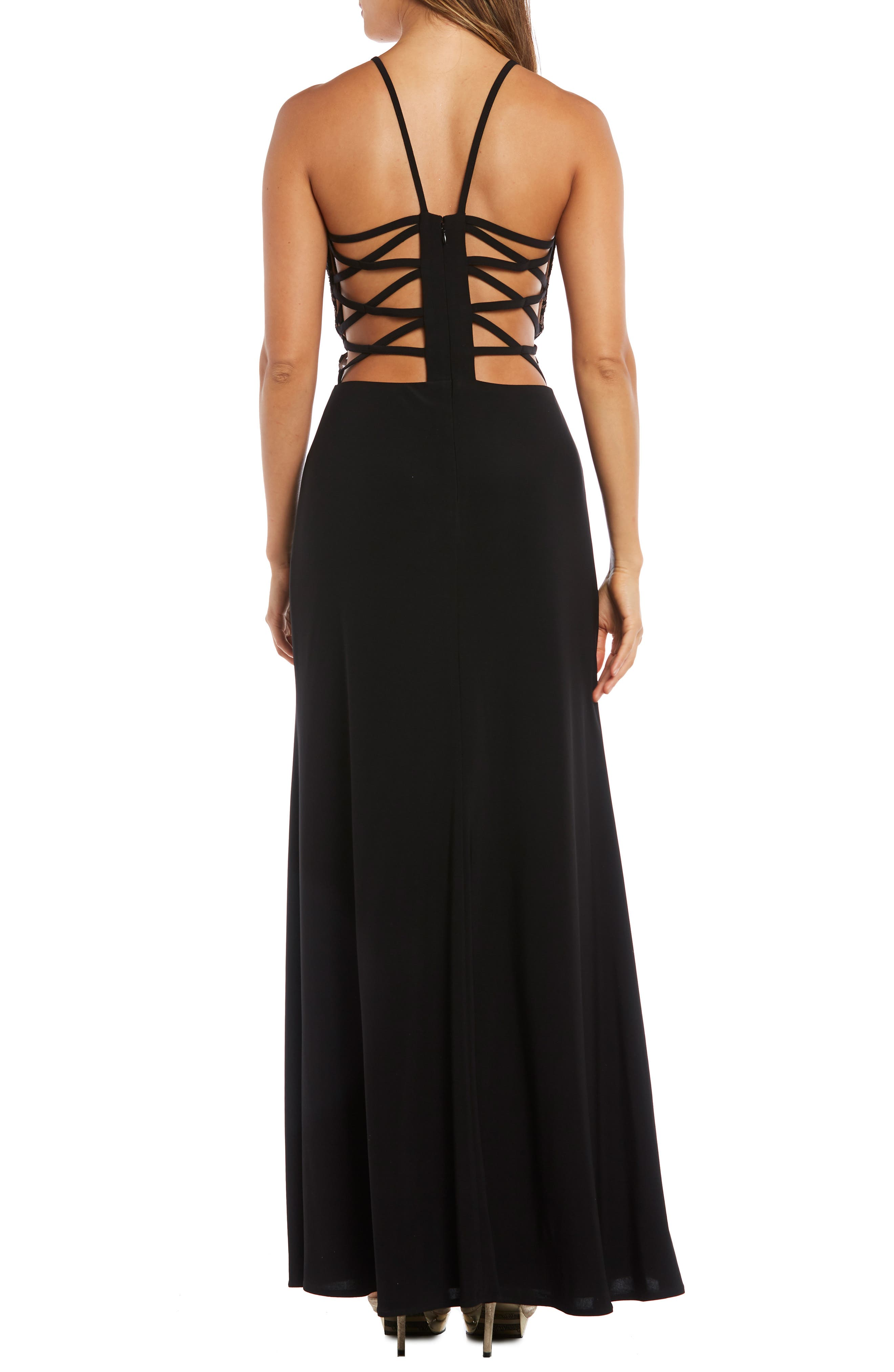 MORGAN & CO.,                             Strappy Lace Bodice Gown,                             Alternate thumbnail 2, color,                             BLACK/ NUDE