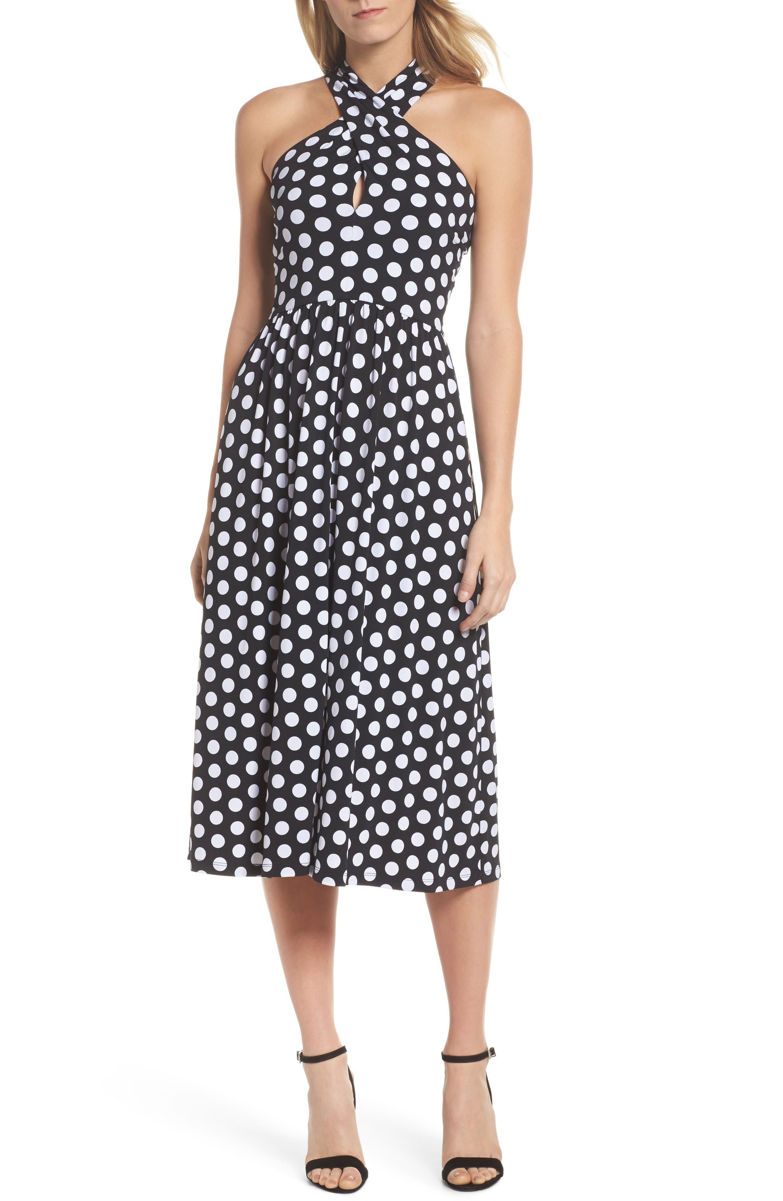 Dot Deluxe Halter Midi Dress,                             Alternate thumbnail 6, color,                             008