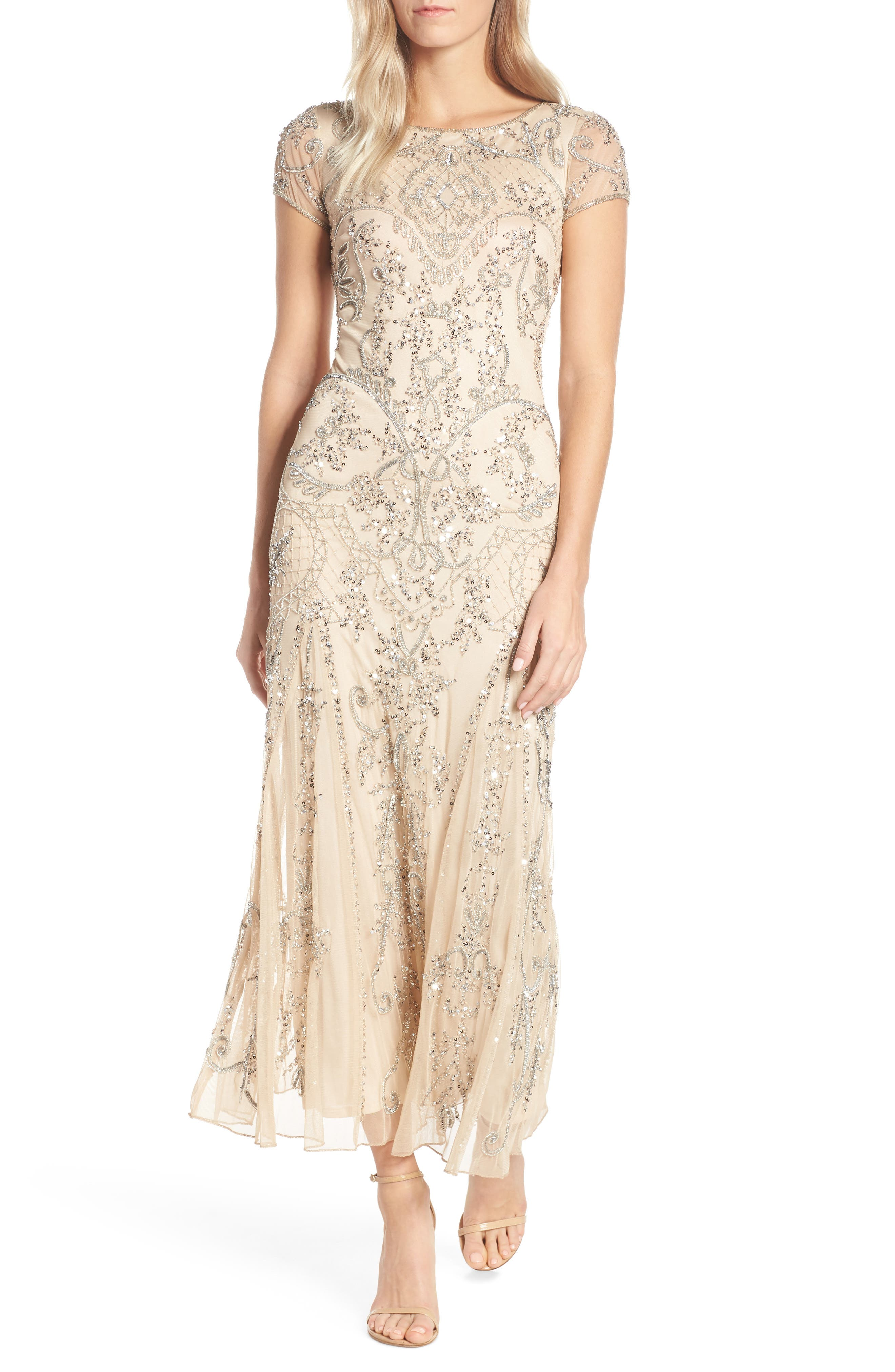 Embellished Mesh Gown,                             Main thumbnail 1, color,                             CHAMPAGNE/ SILVER