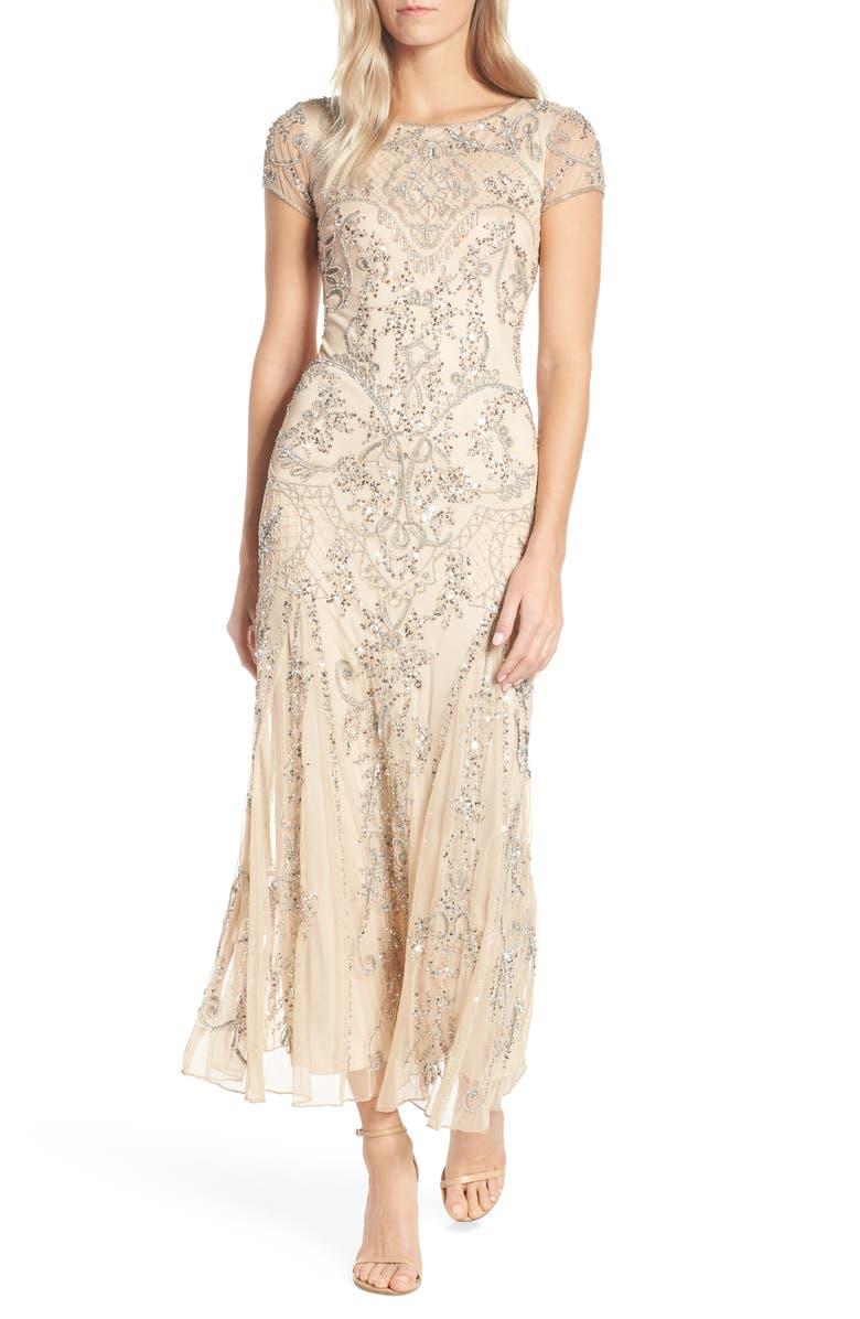 Vintage Evening Dresses and Formal Evening Gowns Womens Pisarro Nights Embellished Mesh Gown Size 6 - Beige $238.00 AT vintagedancer.com