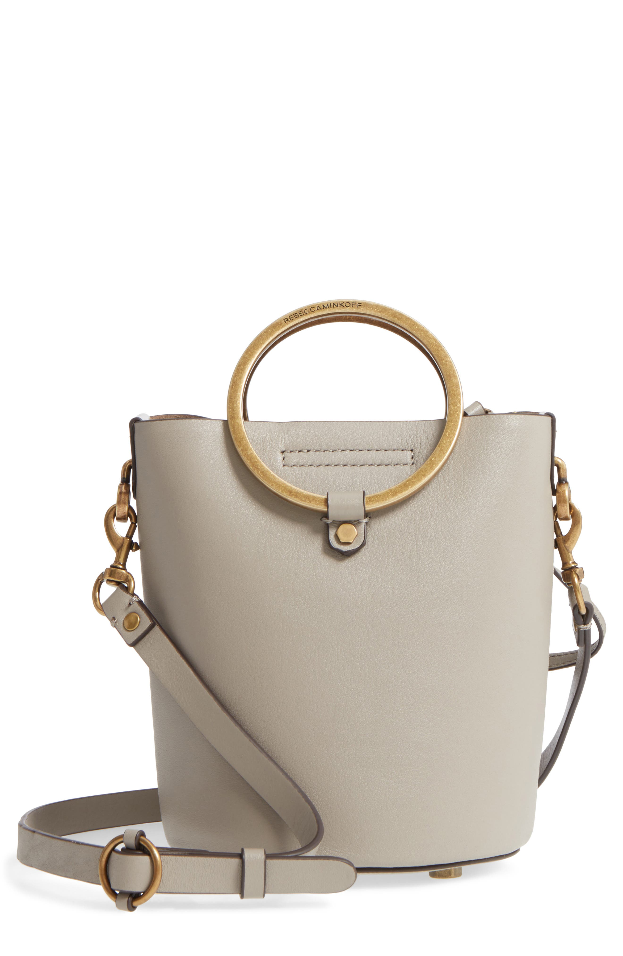 Ring Leather Bucket Bag,                             Main thumbnail 2, color,